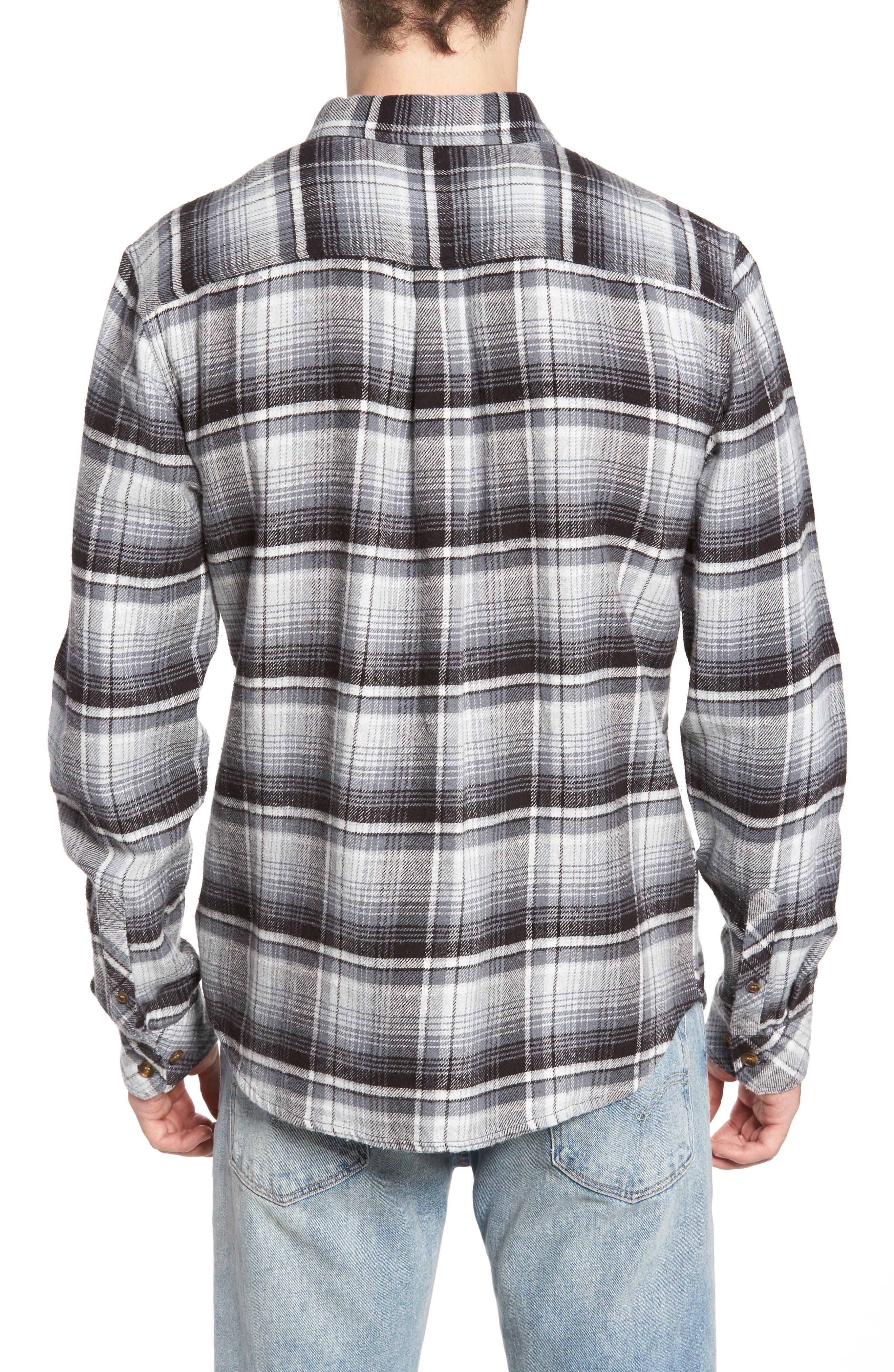 Butler Plaid Flannel Sport Shirt,                             Alternate thumbnail 4, color,