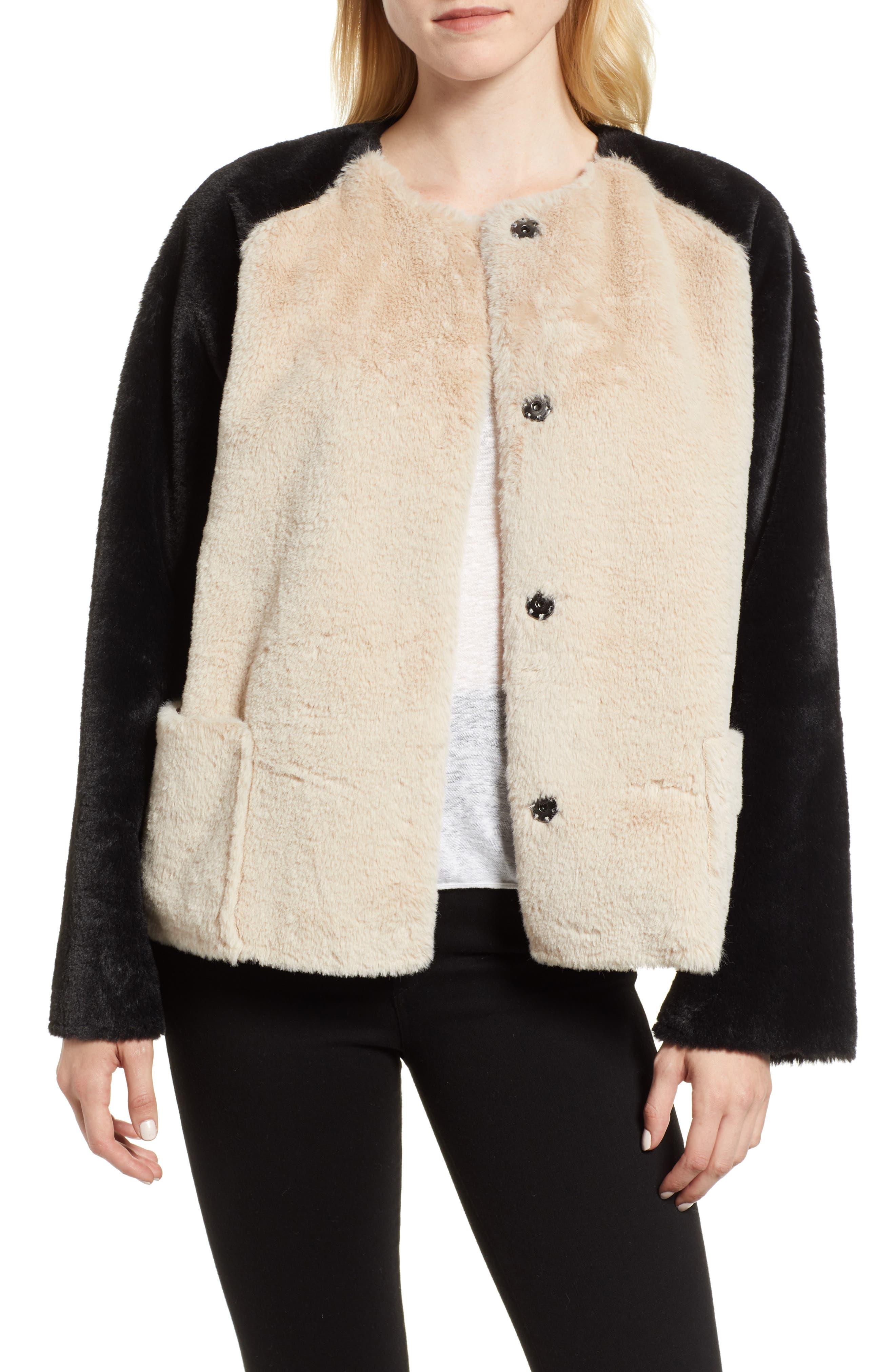 Colorblock Faux Fur Jacket,                             Main thumbnail 1, color,                             MULTI