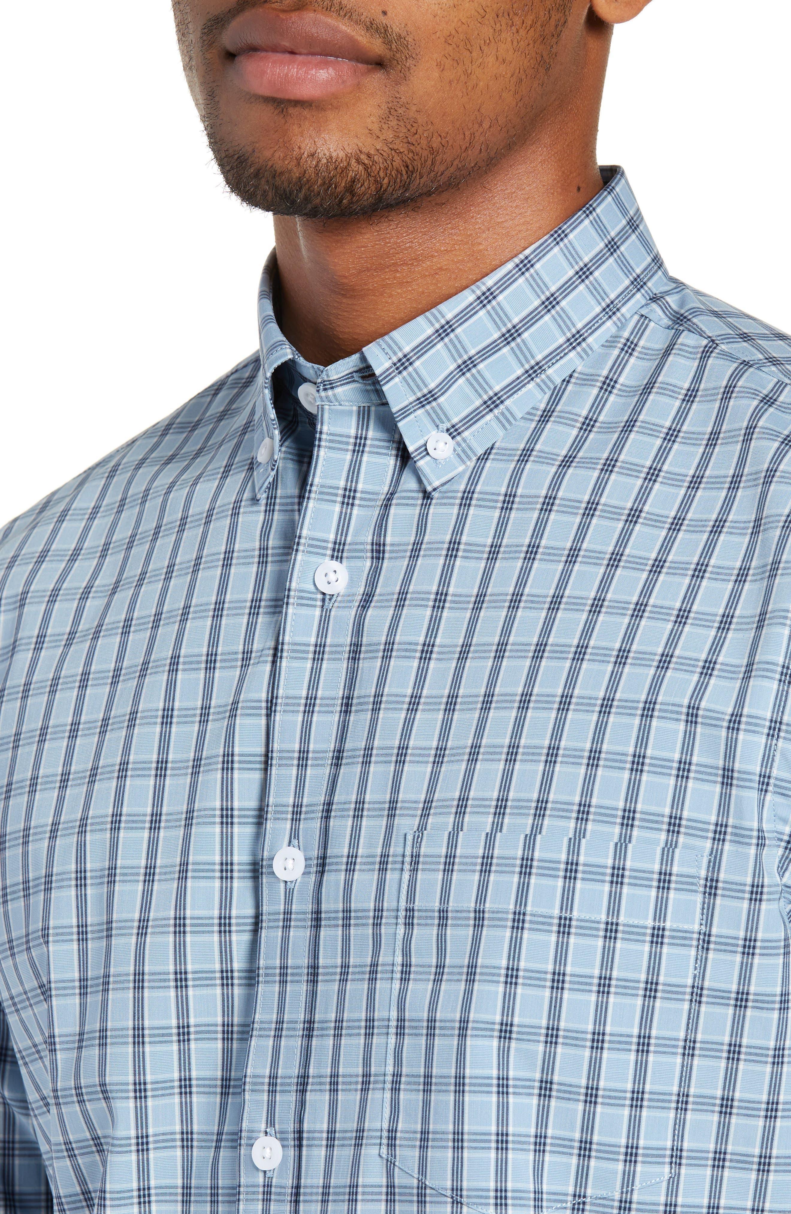 Tech-Smart Slim Fit Plaid Sport Shirt,                             Alternate thumbnail 2, color,                             BLUE HEAVEN HEATHER CHECK