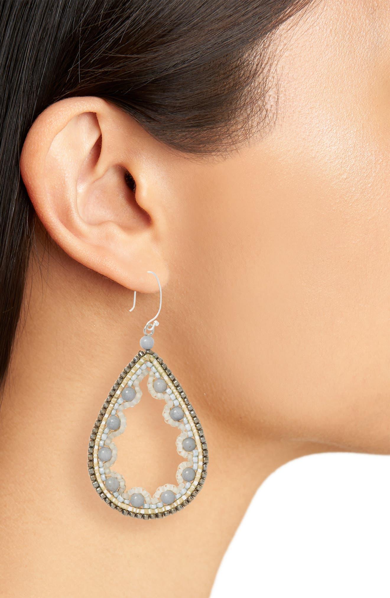 Beaded Agate Teardrop Earrings,                             Alternate thumbnail 2, color,                             100