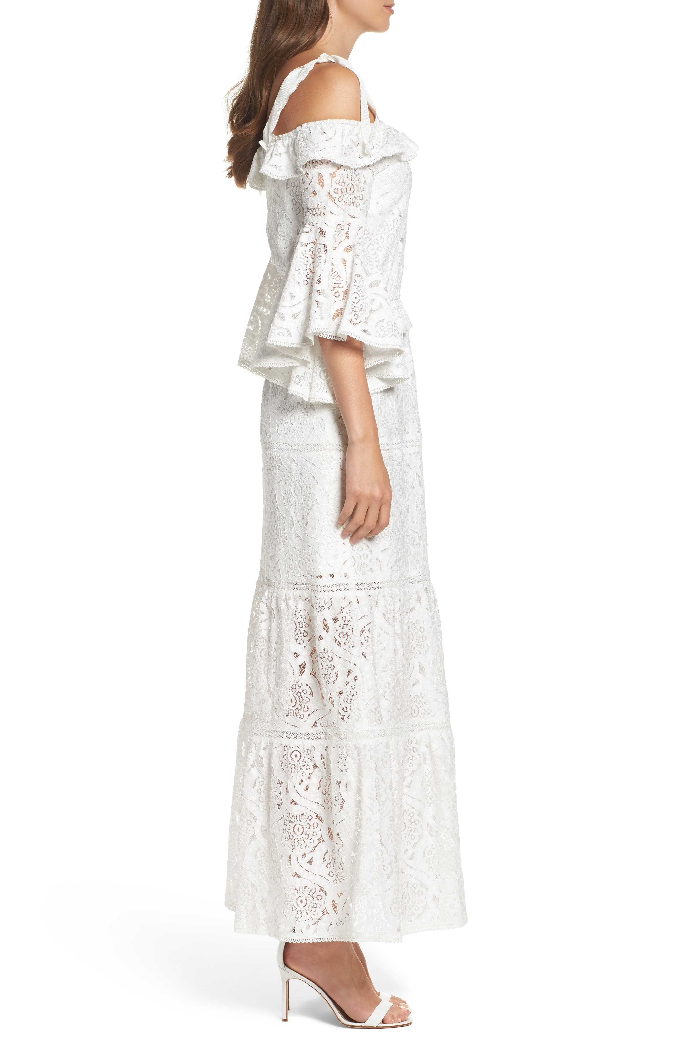 Lace Bell Sleeve Off the Shoulder Gown,                             Alternate thumbnail 3, color,                             100