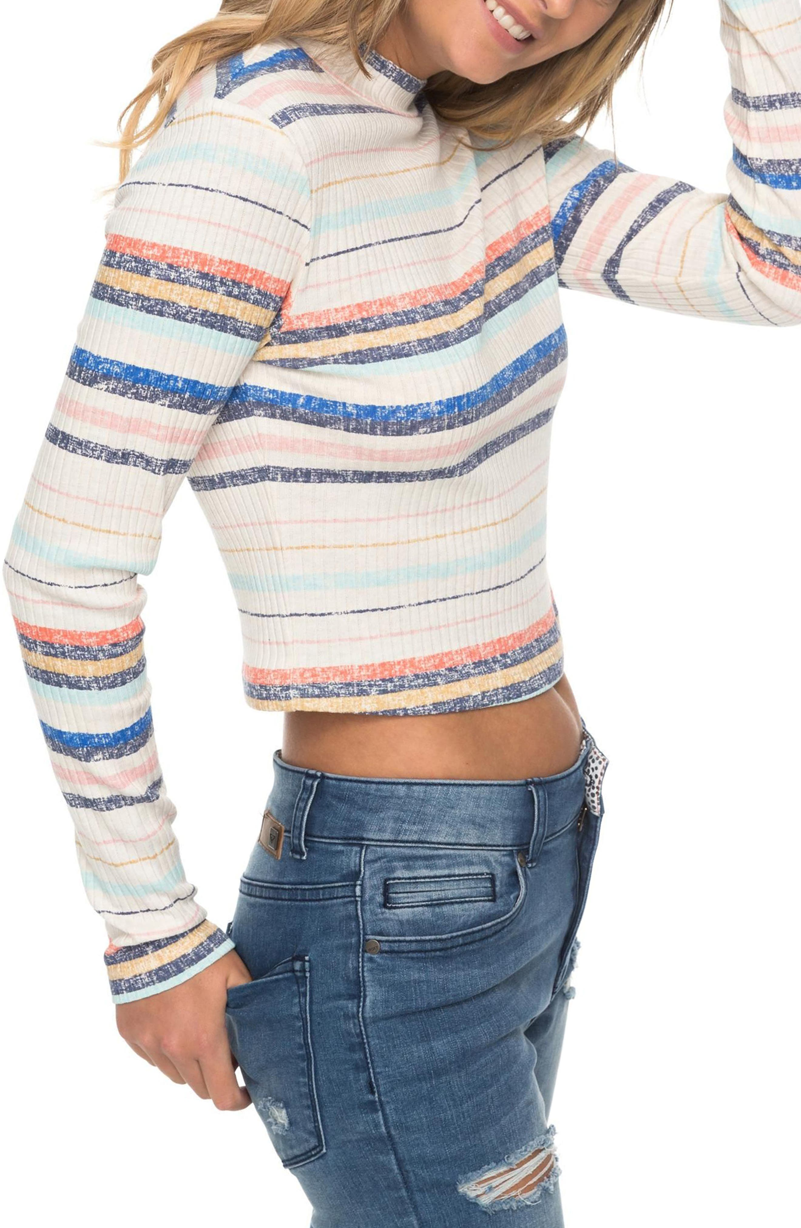 Smooth Move Mock Neck Crop Sweater,                             Alternate thumbnail 3, color,
