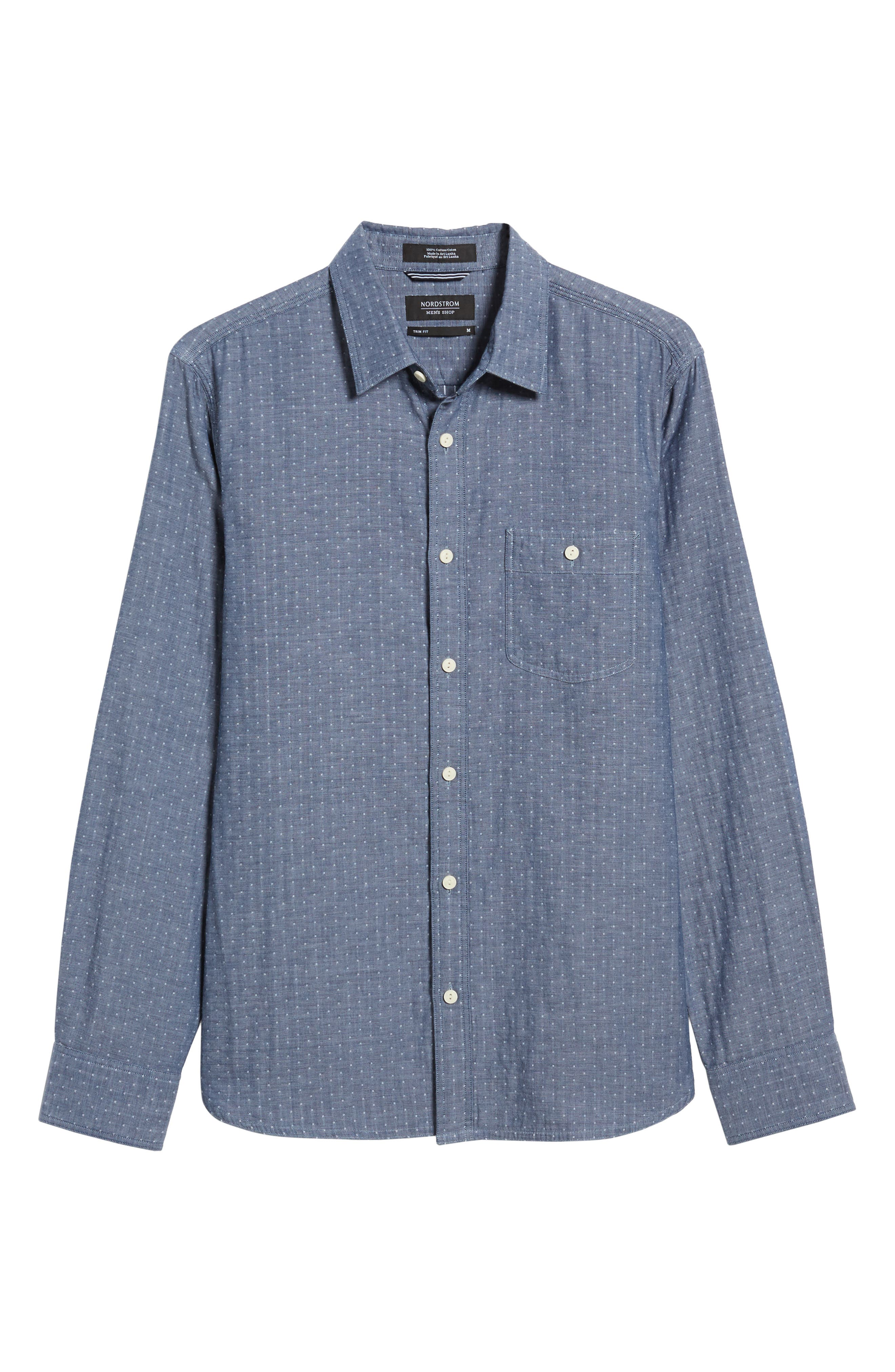 Trim Fit Non-Iron Gingham Sport Shirt,                             Alternate thumbnail 6, color,                             420