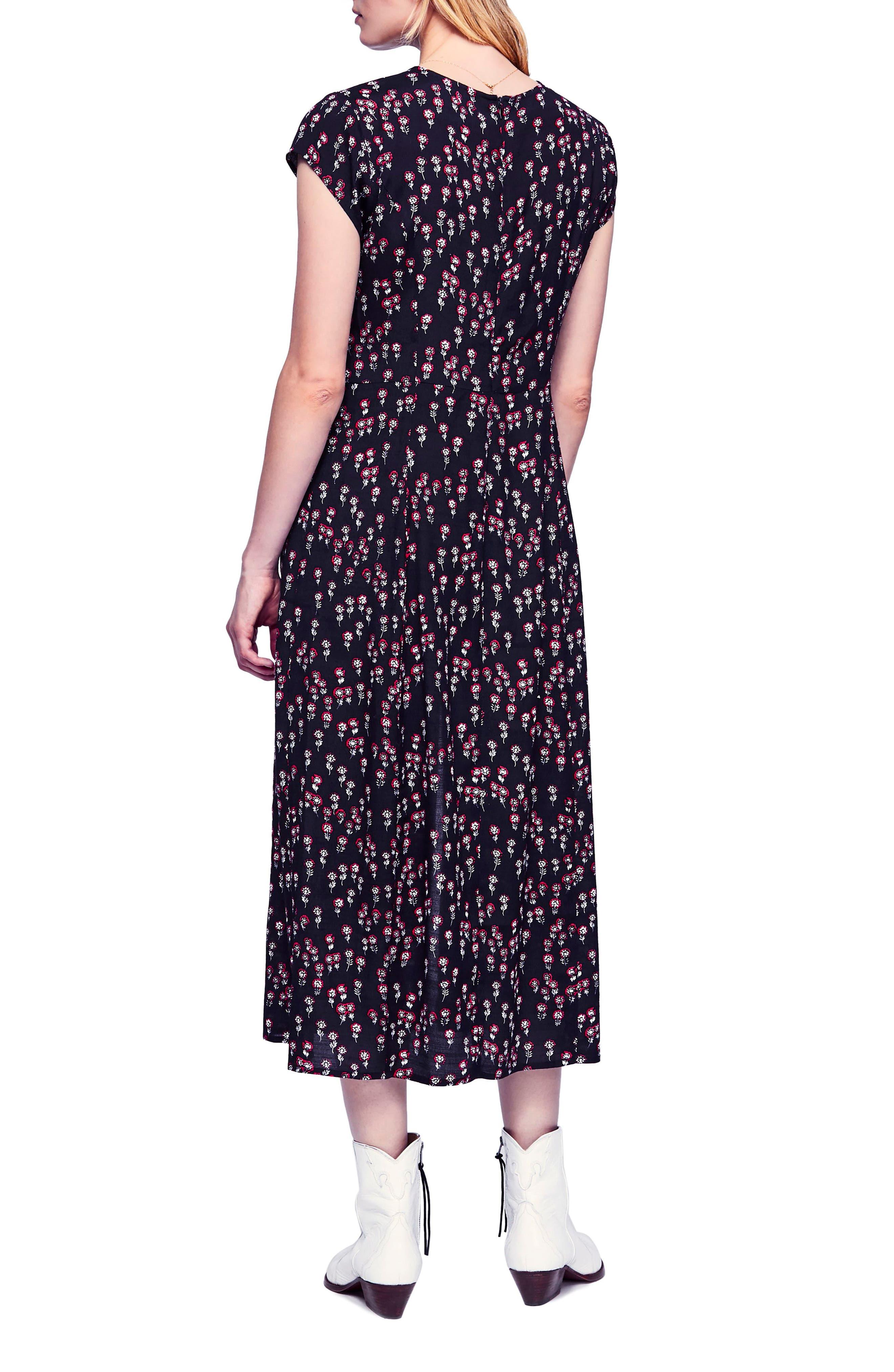 FREE PEOPLE,                             Corrie Midi Dress,                             Alternate thumbnail 2, color,                             BLACK