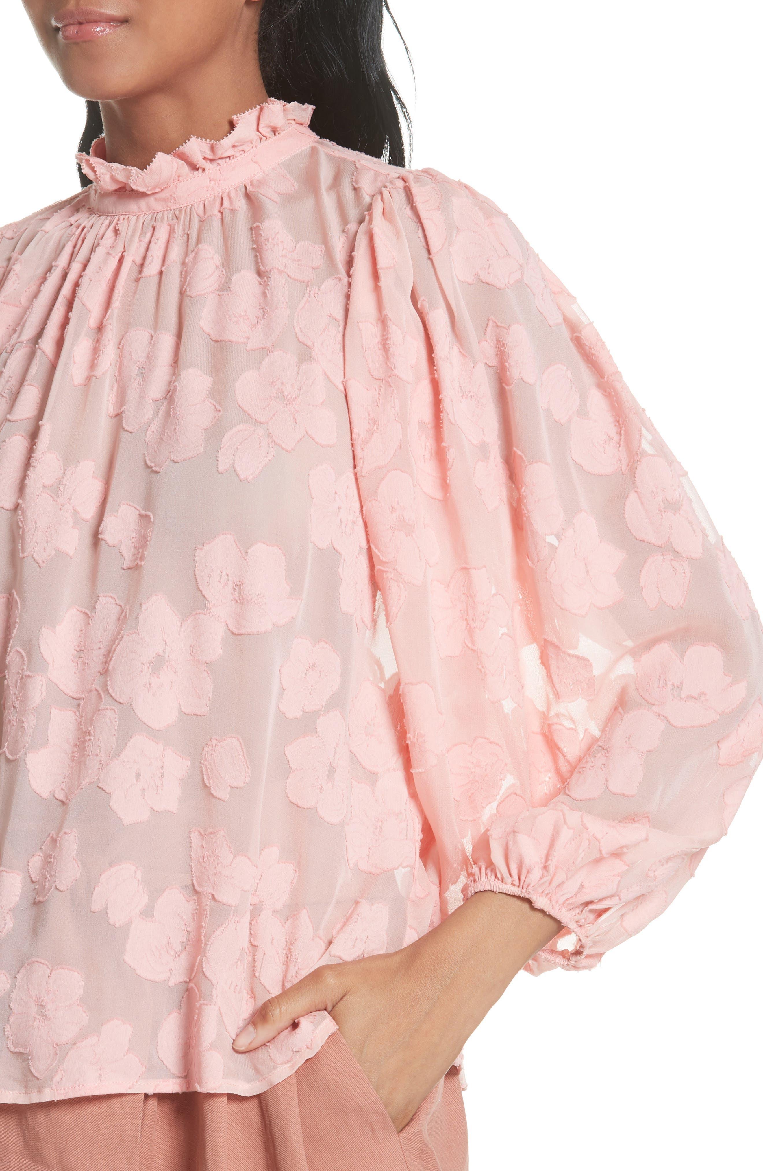 Sandrine Silk & Cotton Jacquard Blouse,                             Alternate thumbnail 4, color,