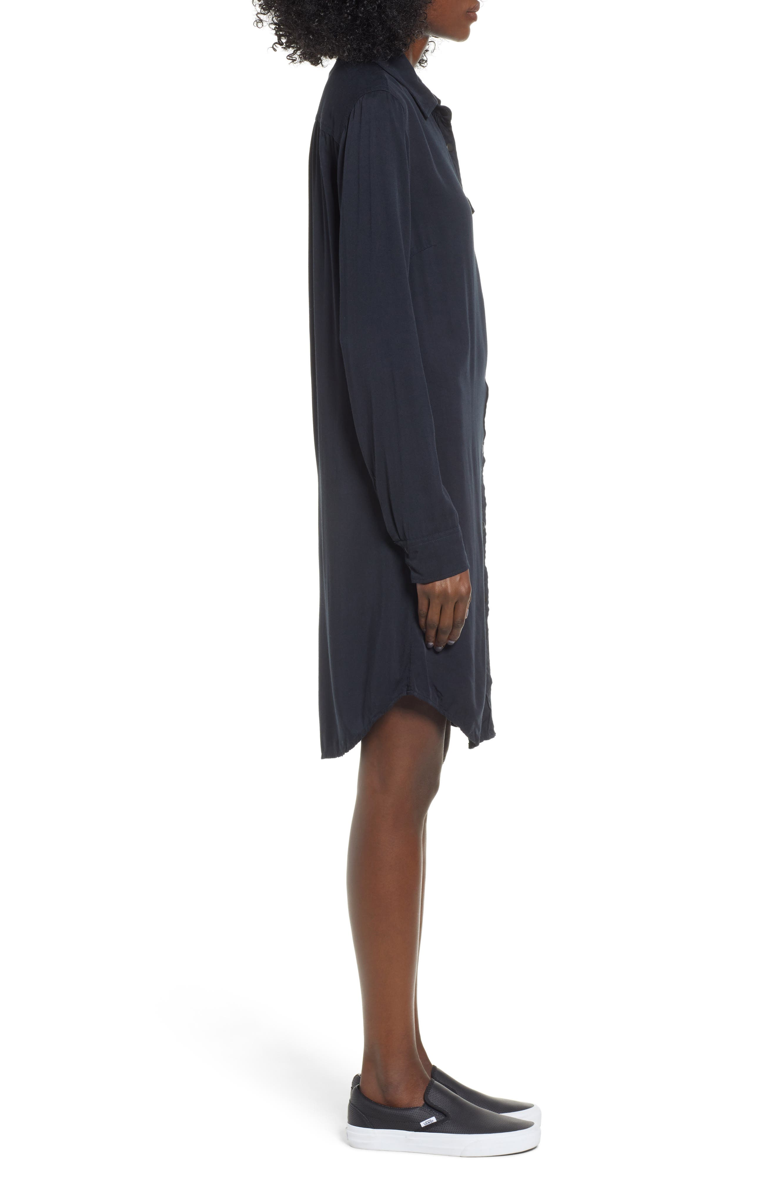 Tomini Bay View Shirtdress,                             Alternate thumbnail 3, color,                             TRUE BLACK