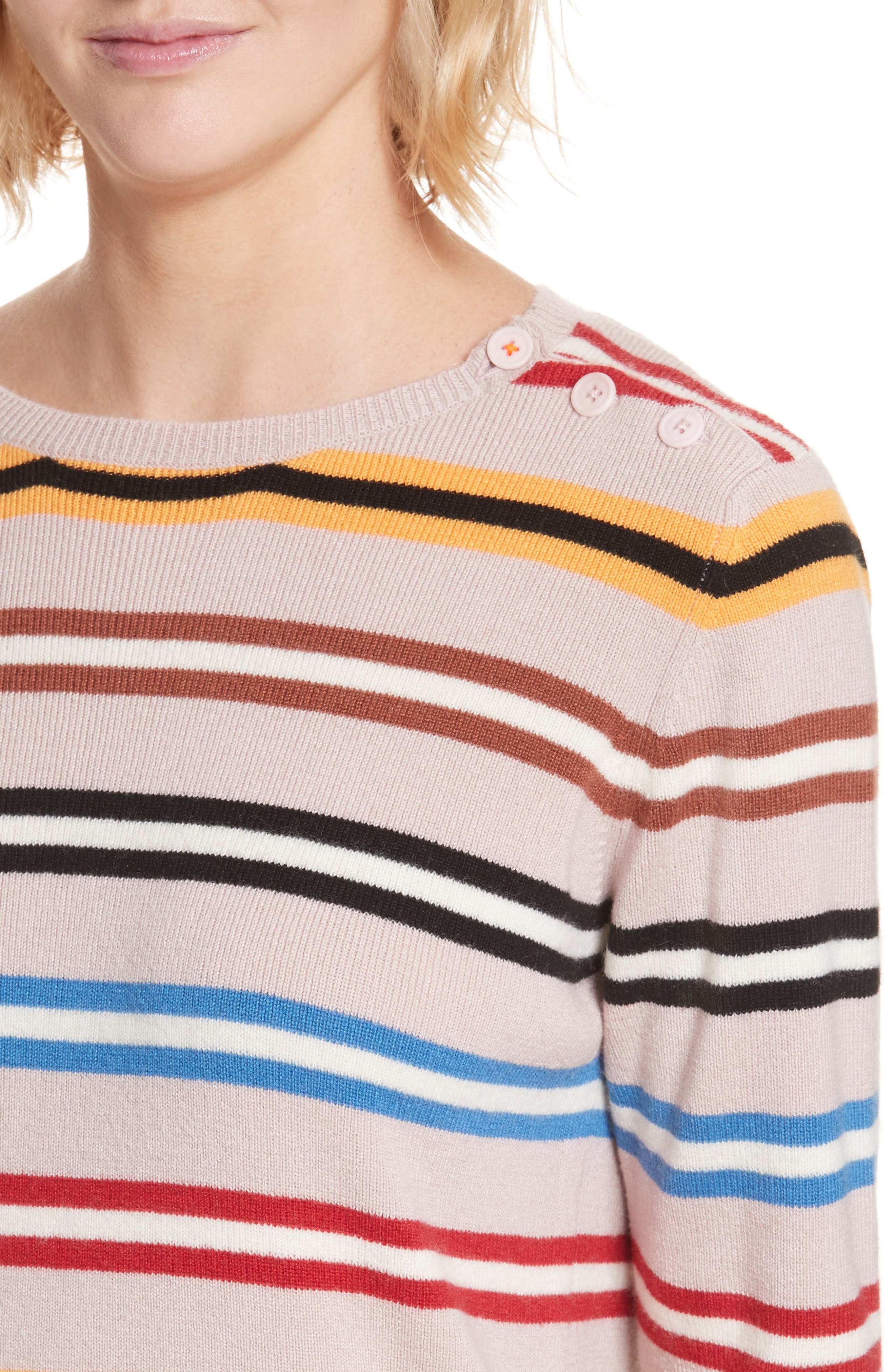 Stripe Cashmere Sweater,                             Alternate thumbnail 4, color,                             250