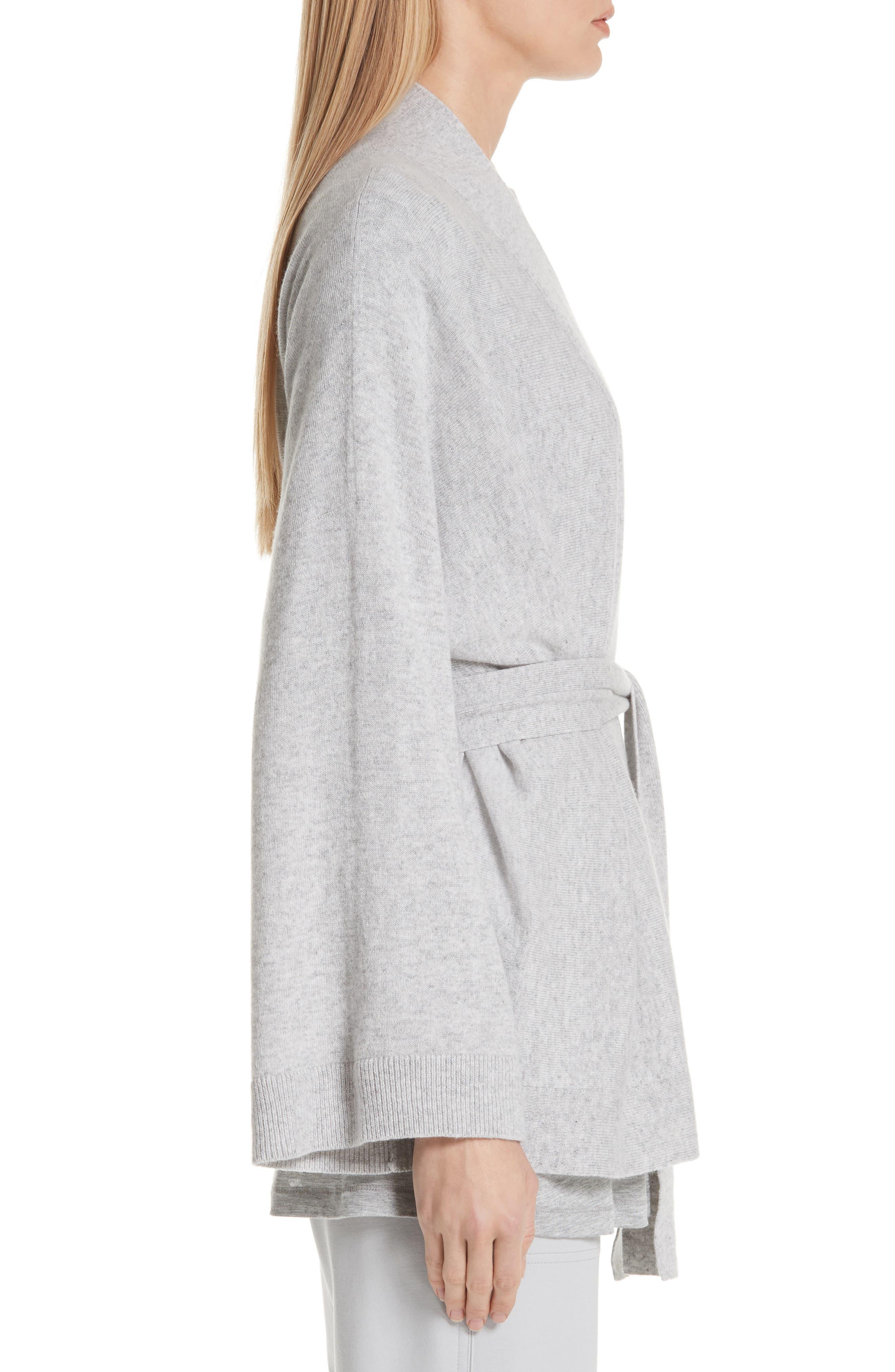 Cashmere Kimono Cardigan,                             Alternate thumbnail 3, color,                             GREY HEATHER
