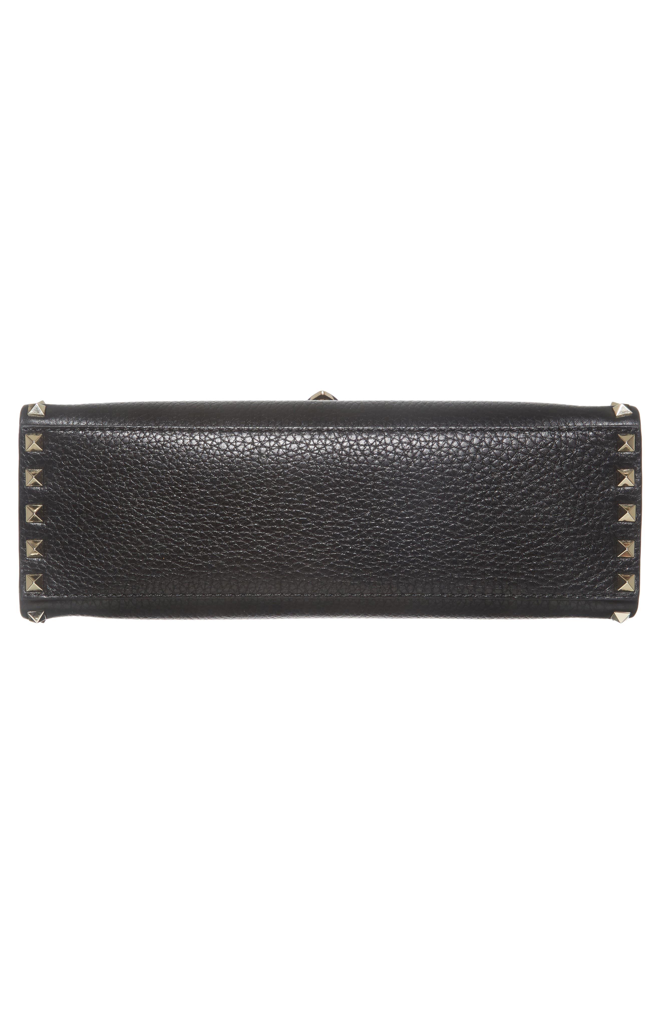 Rockstud Leather Top Handle Shoulder Bag,                             Alternate thumbnail 6, color,                             001