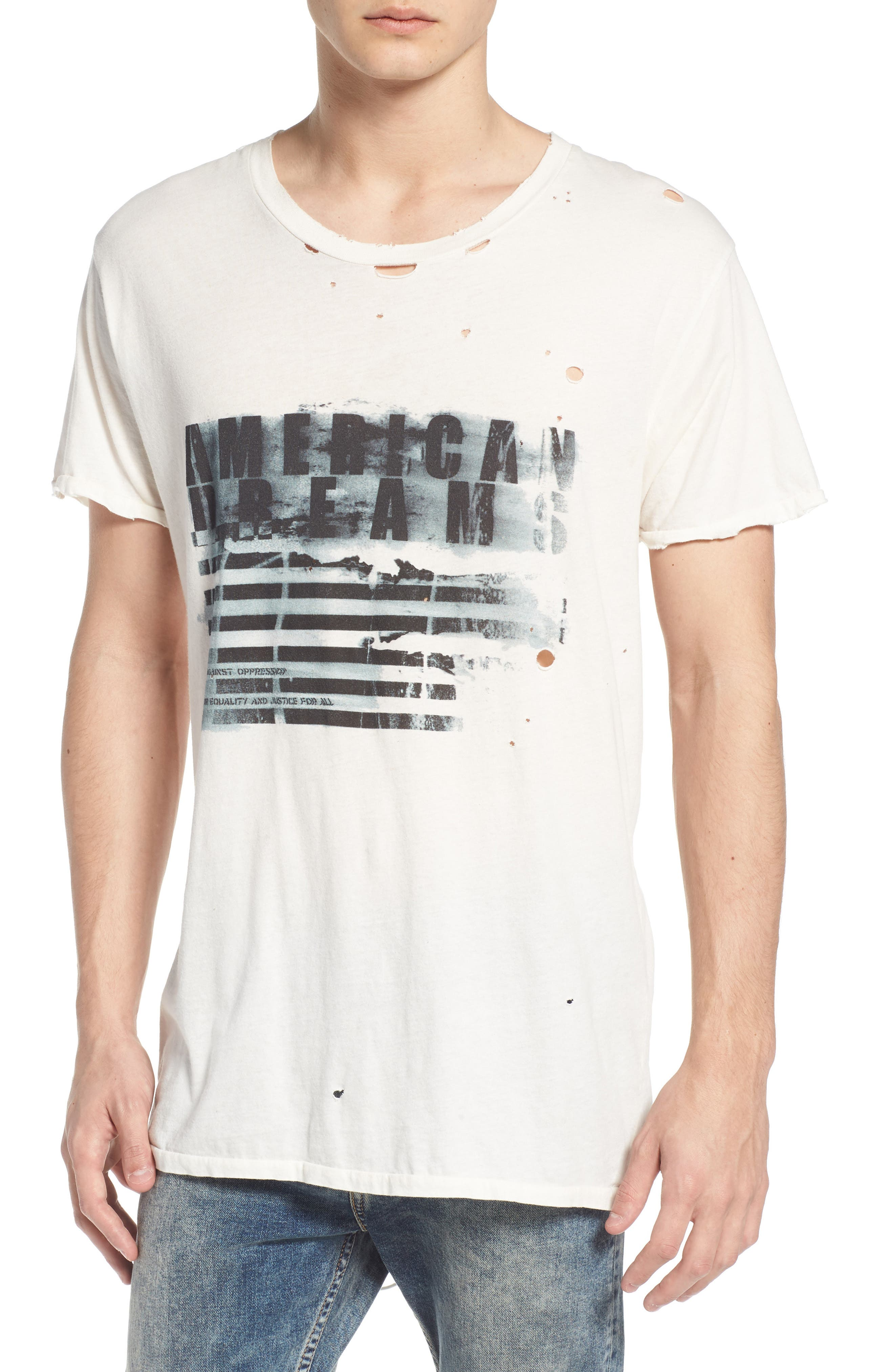 American Dreams Distressed Graphic T-Shirt,                             Main thumbnail 1, color,                             WHITE