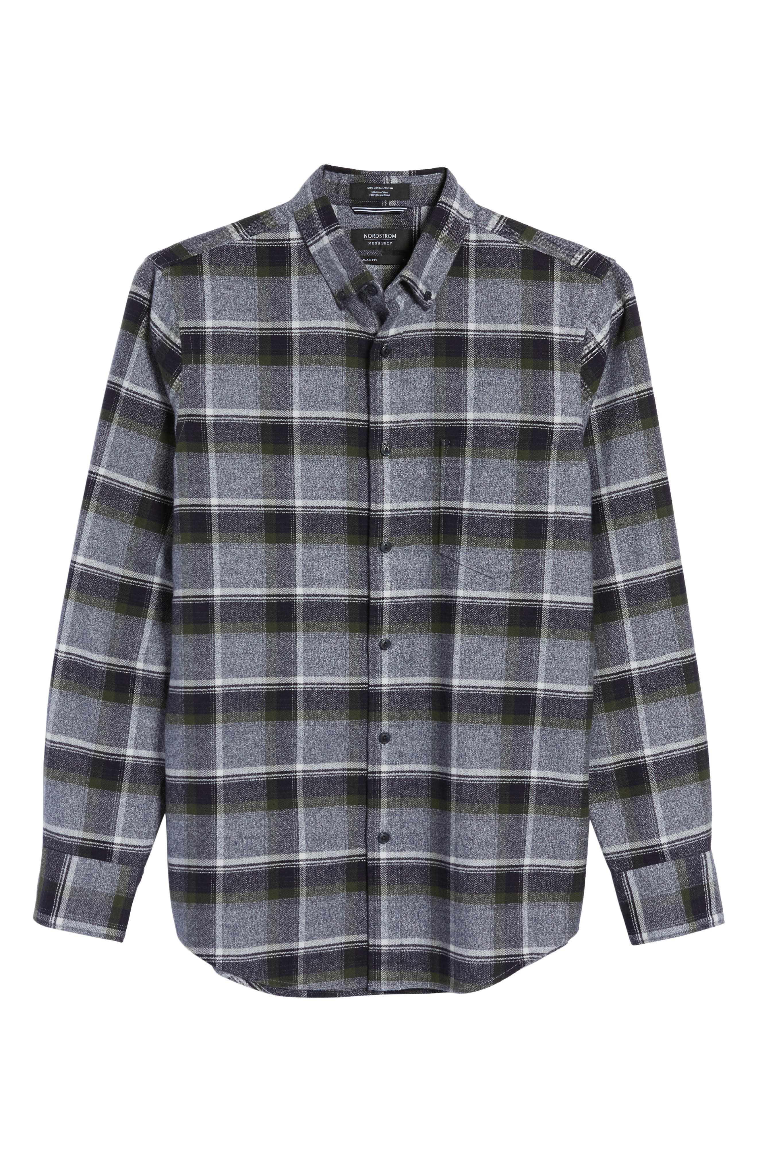 Regular Fit Plaid Flannel Shirt,                             Alternate thumbnail 6, color,
