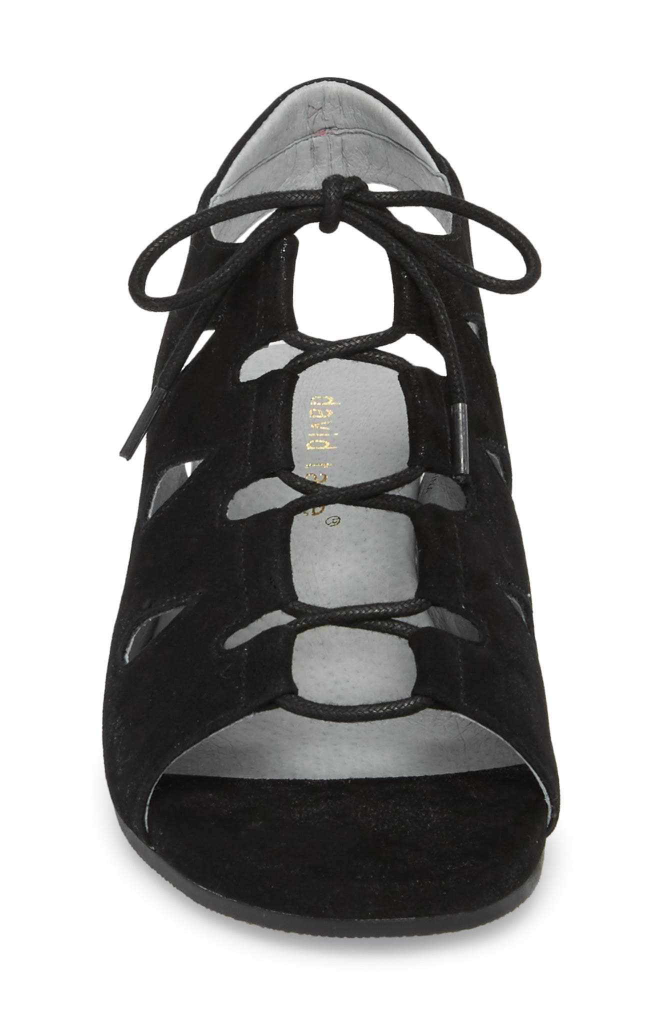 Rich Wedge Sandal,                             Alternate thumbnail 4, color,                             BLACK SUEDE