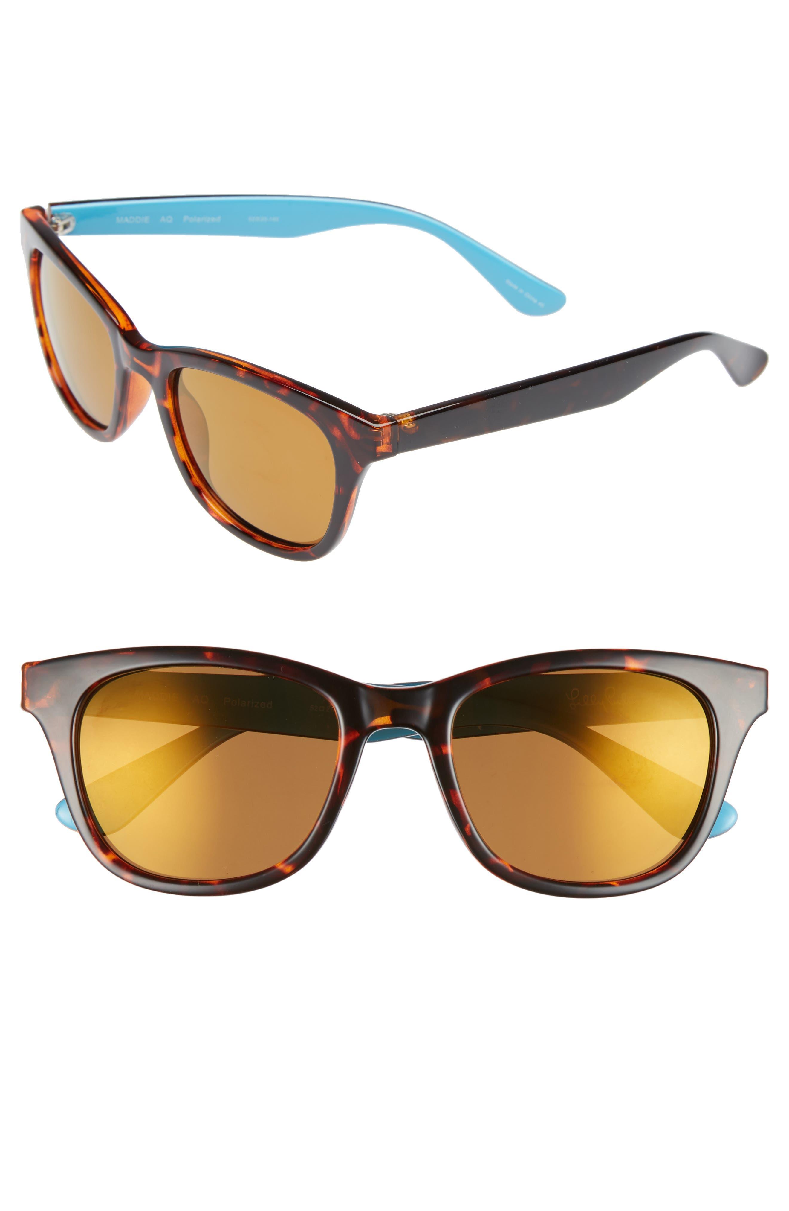 Maddie 52mm Polarized Mirrored Sunglasses,                         Main,                         color, AQUA/ GOLD FLASH