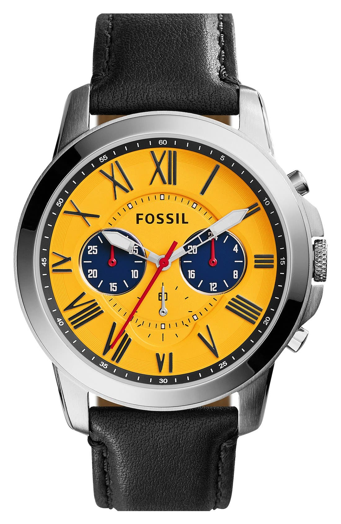 'Grant' Round Chronograph Leather Strap Watch, 44mm,                             Main thumbnail 8, color,