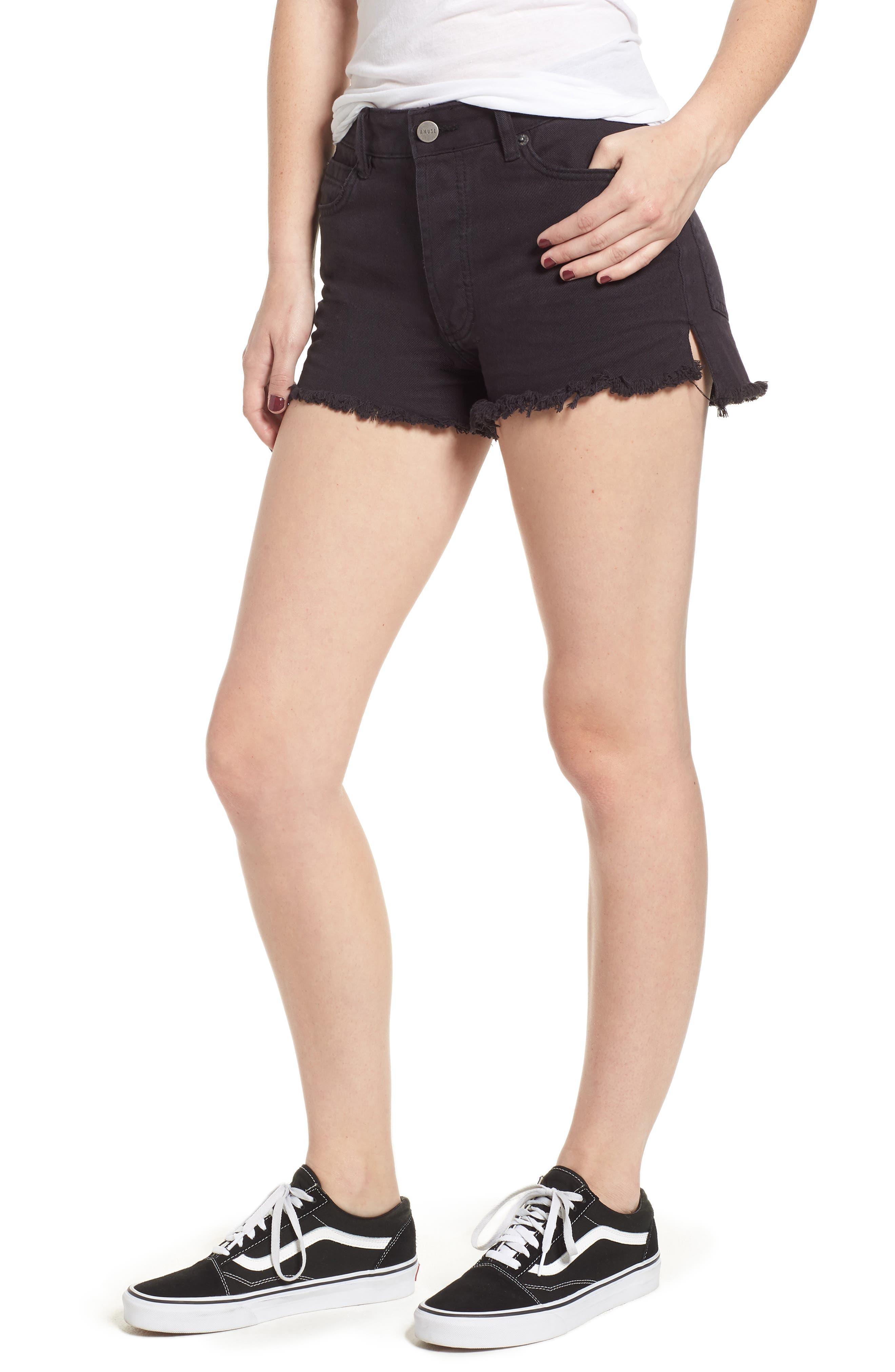 Shoreline Fray Hem Denim Shorts,                         Main,                         color, 001