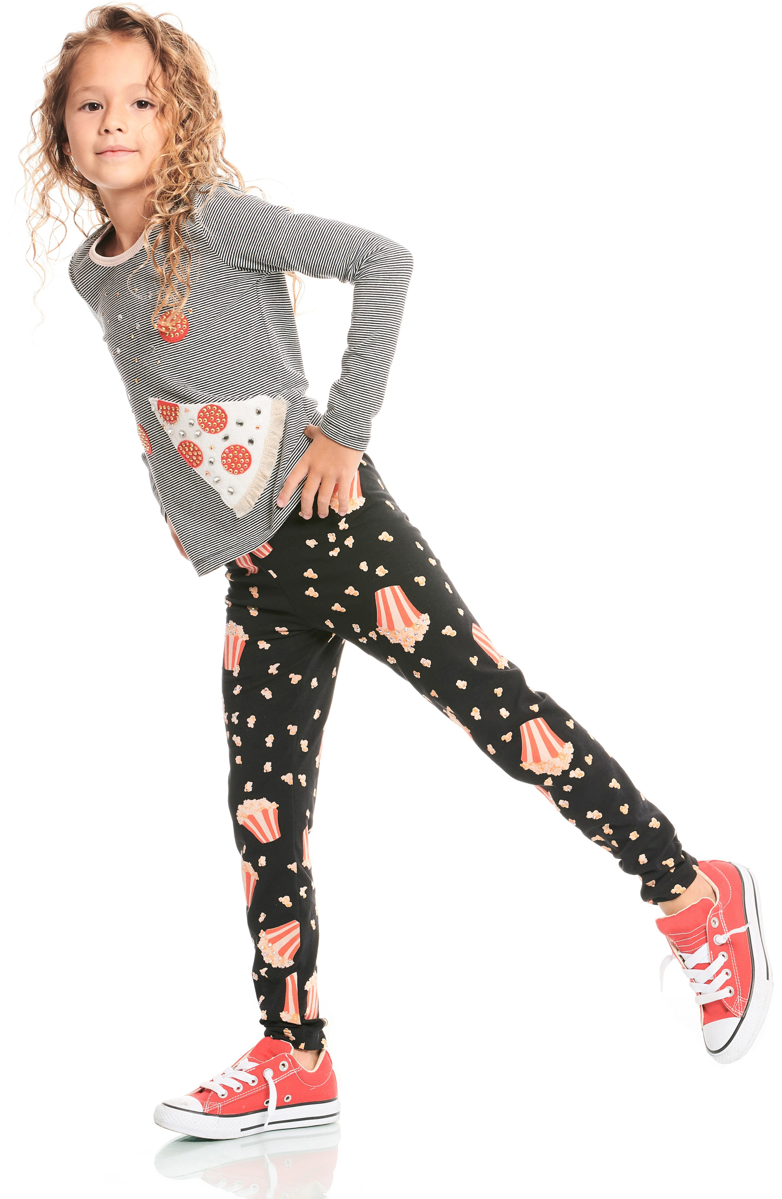 Popcorn Print Leggings,                             Alternate thumbnail 5, color,                             001