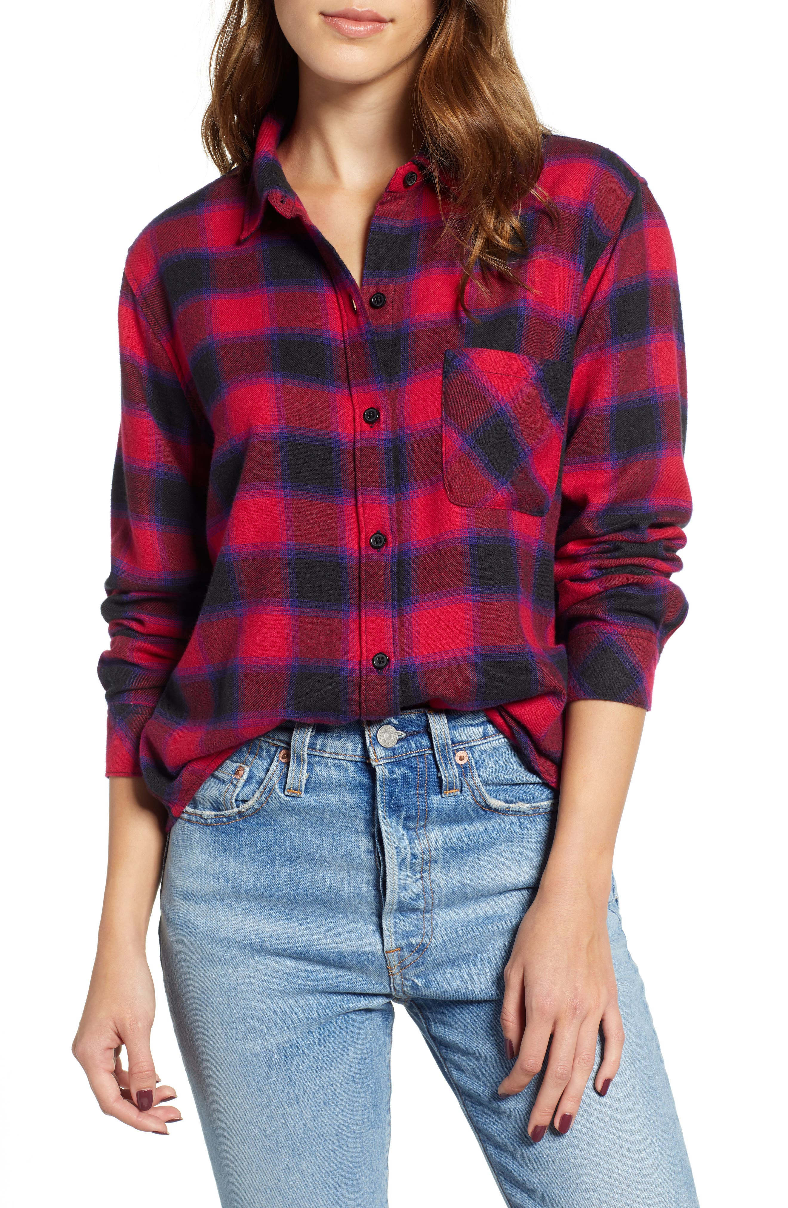 Rails Milo Plaid Flannel Shirt, Red