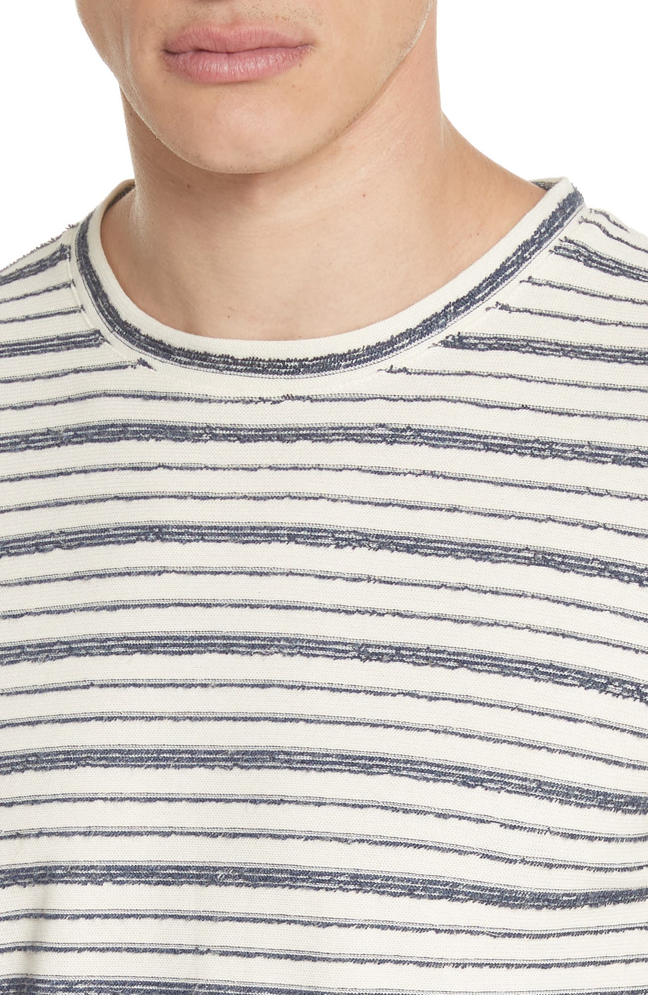 Niels Textured Stripe T-Shirt,                             Alternate thumbnail 4, color,                             DARK NAVY