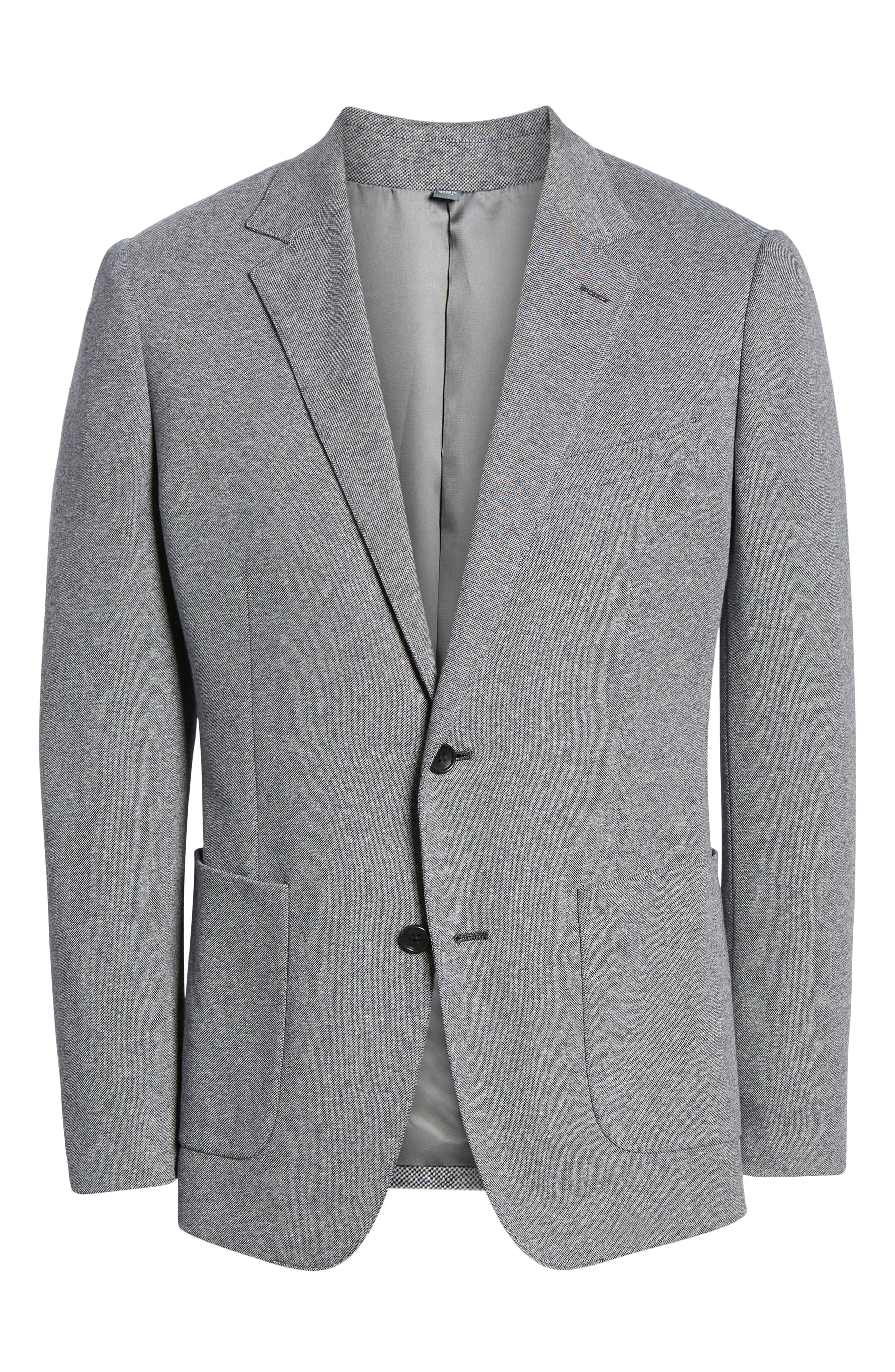 Jetsetter Trim Fit Knit Cotton Sport Coat,                             Alternate thumbnail 5, color,                             LIGHT GREY