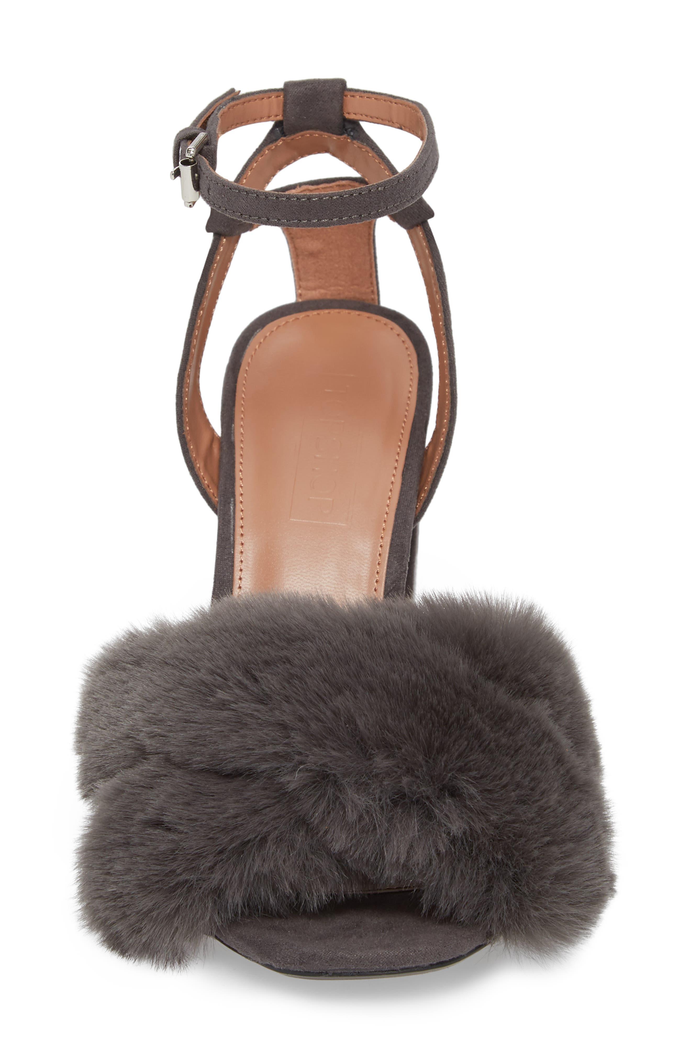 Sassy Faux Fur Sandal,                             Alternate thumbnail 4, color,                             020