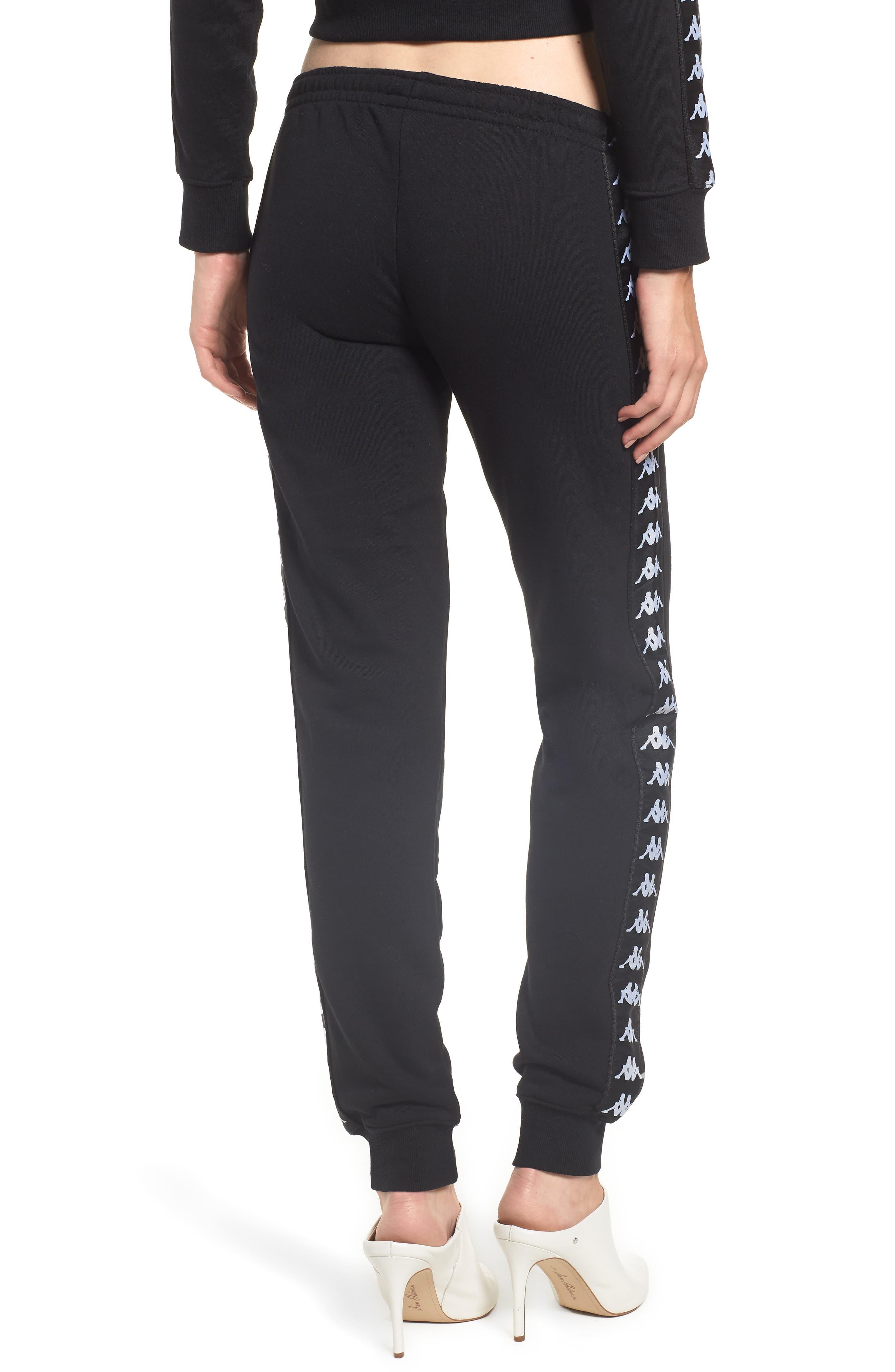 Logo Slim Fleece Pants,                             Alternate thumbnail 2, color,                             BLACK-WHITE
