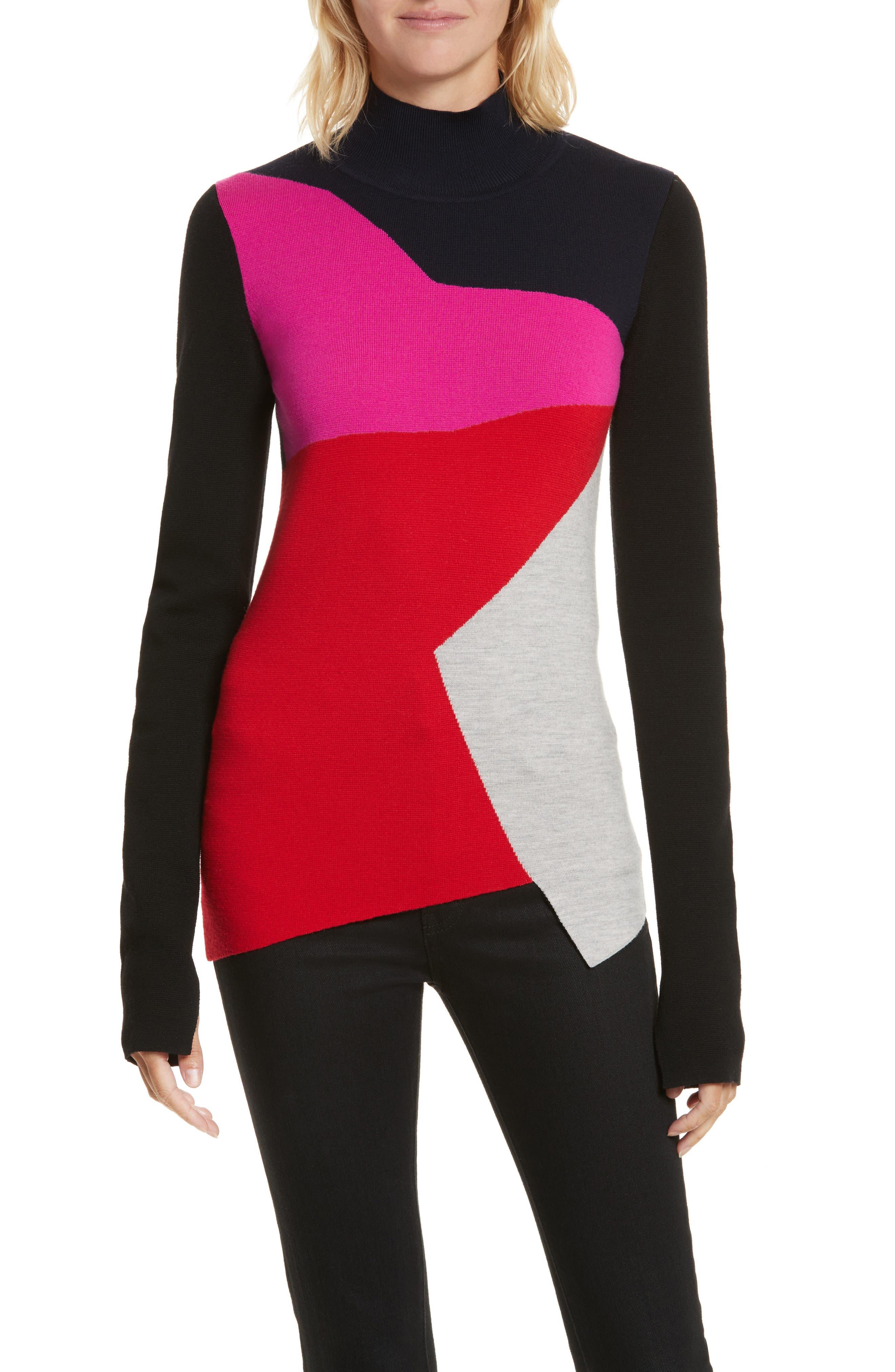Diane von Furstenberg Colorblock Turtleneck Pullover,                             Main thumbnail 1, color,                             642