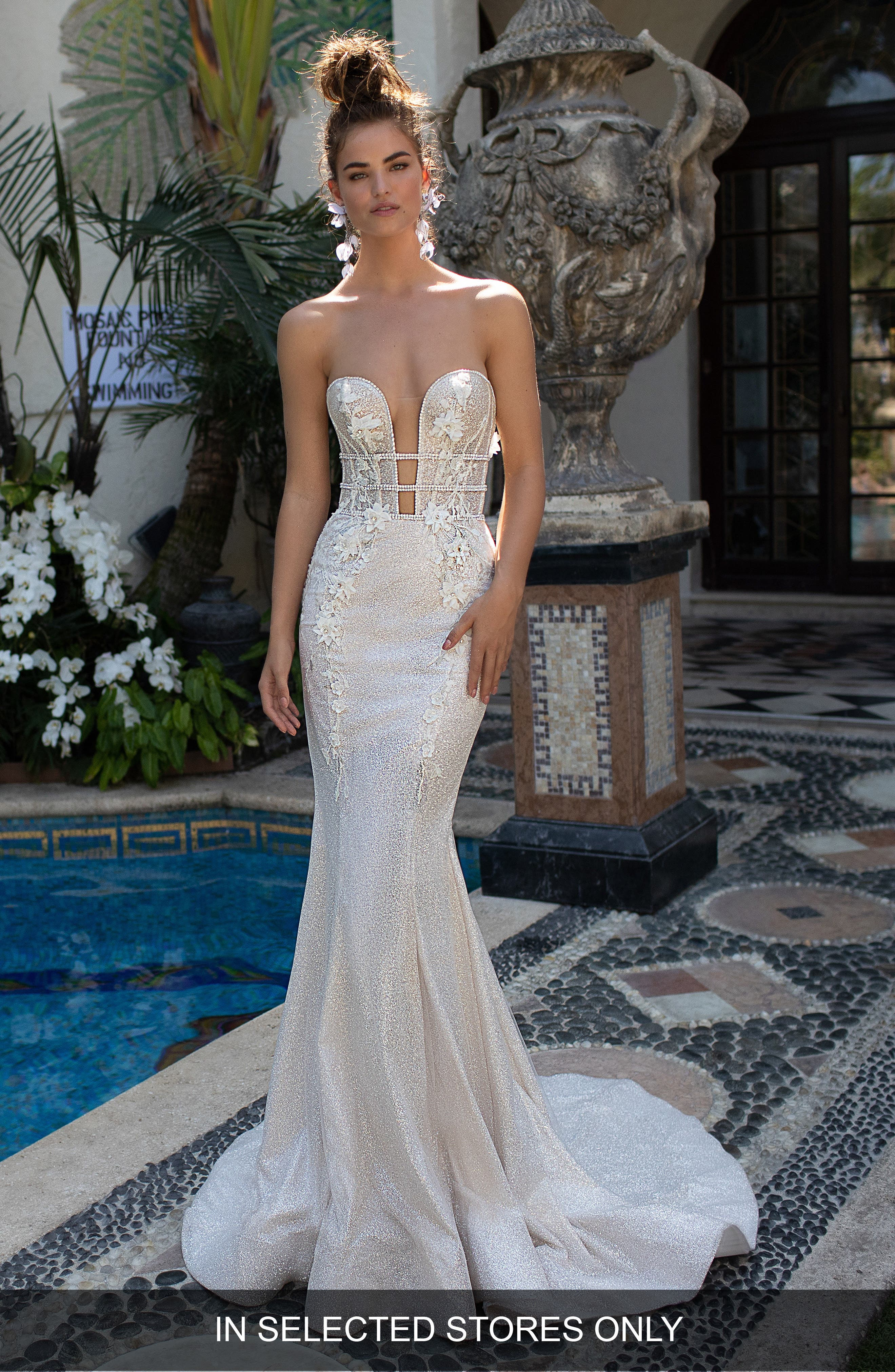 Embellished Strapless Mermaid Gown,                         Main,                         color, IVORY