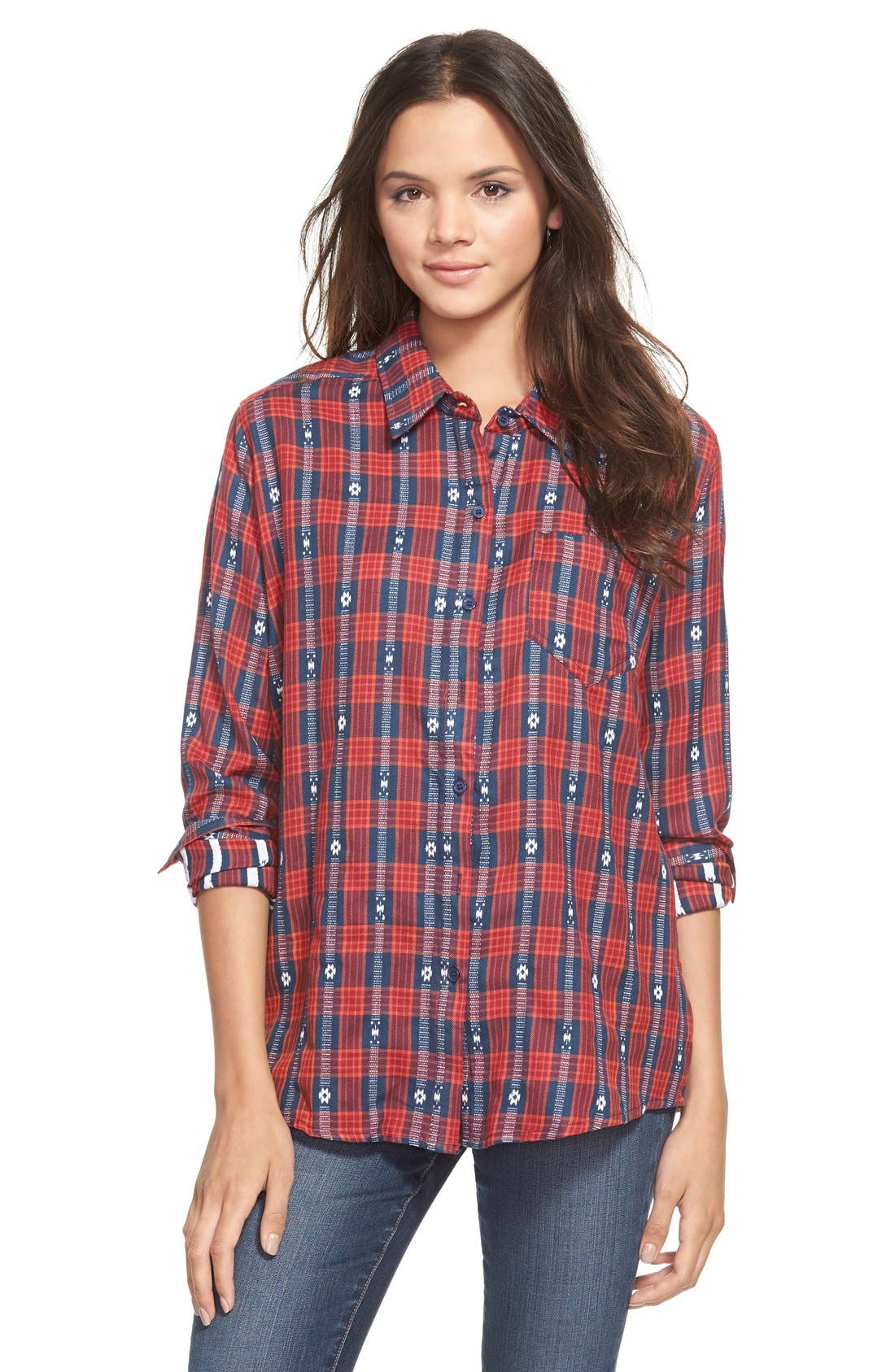 Embroidered Plaid Shirt,                             Main thumbnail 1, color,                             625