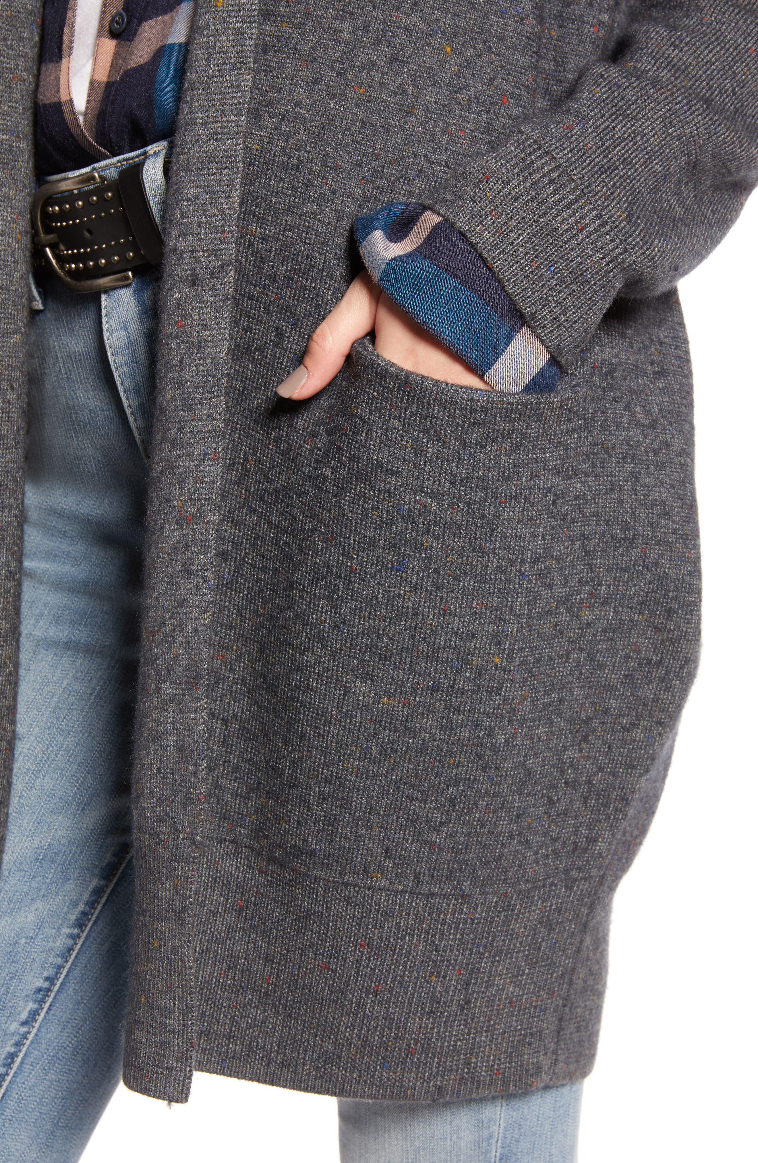 TREASURE & BOND,                             Boiled Wool Blend Long Cardigan,                             Alternate thumbnail 4, color,                             030