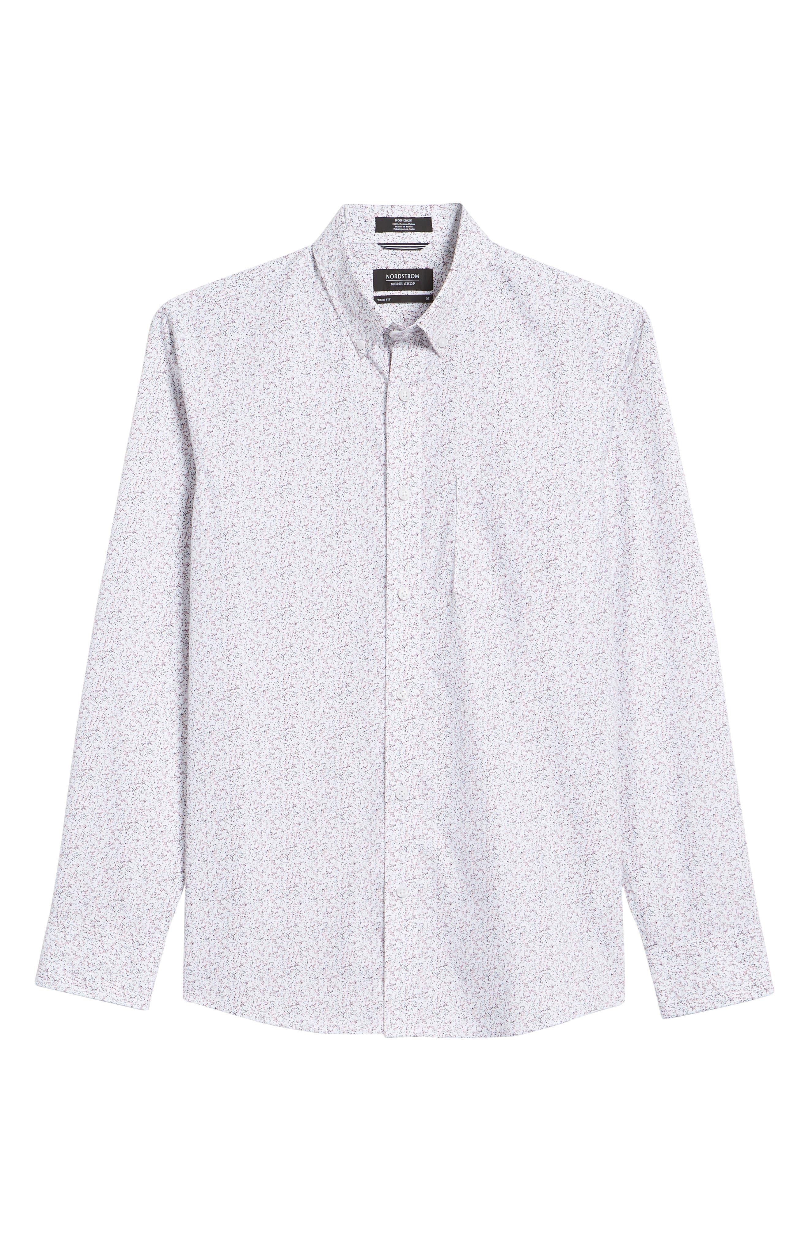 Trim Fit Print Sport Shirt,                             Alternate thumbnail 6, color,                             WHITE NAVY SPRING FLORAL