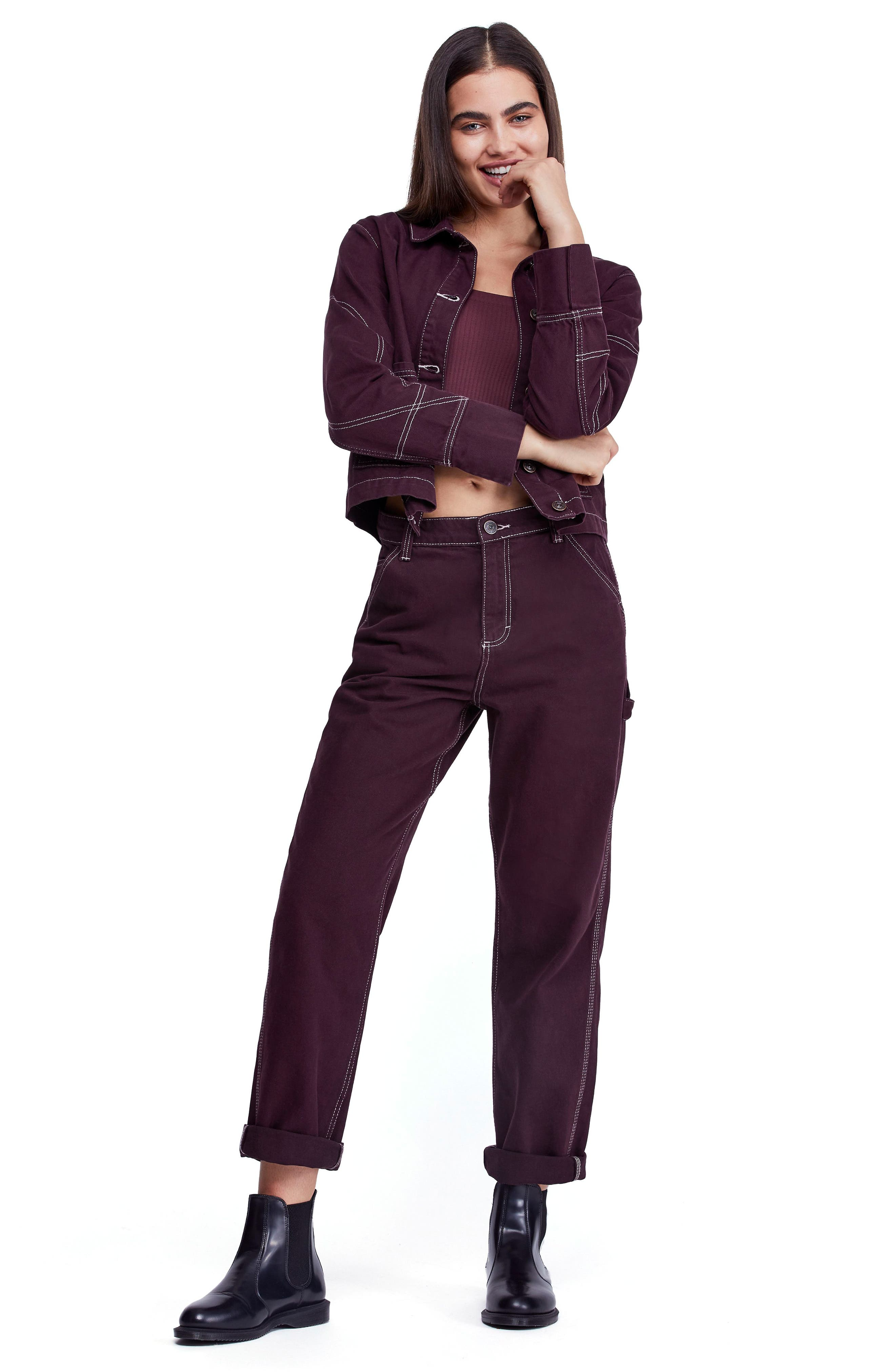 Urban Outfitters Workwear Pants,                             Alternate thumbnail 6, color,                             WINE