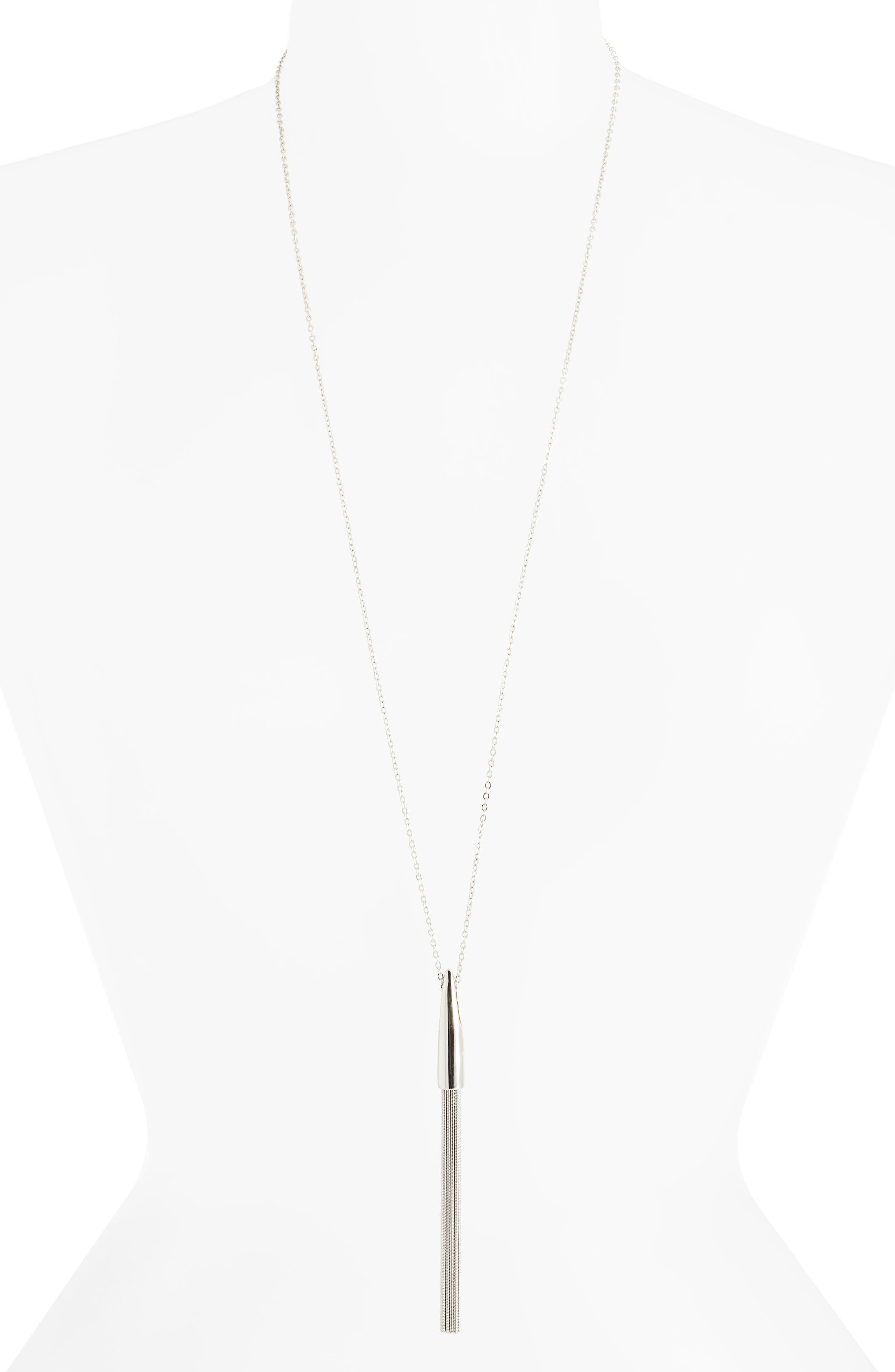 Snake Chain Tassel Pendant, Main, color, RHODIUM
