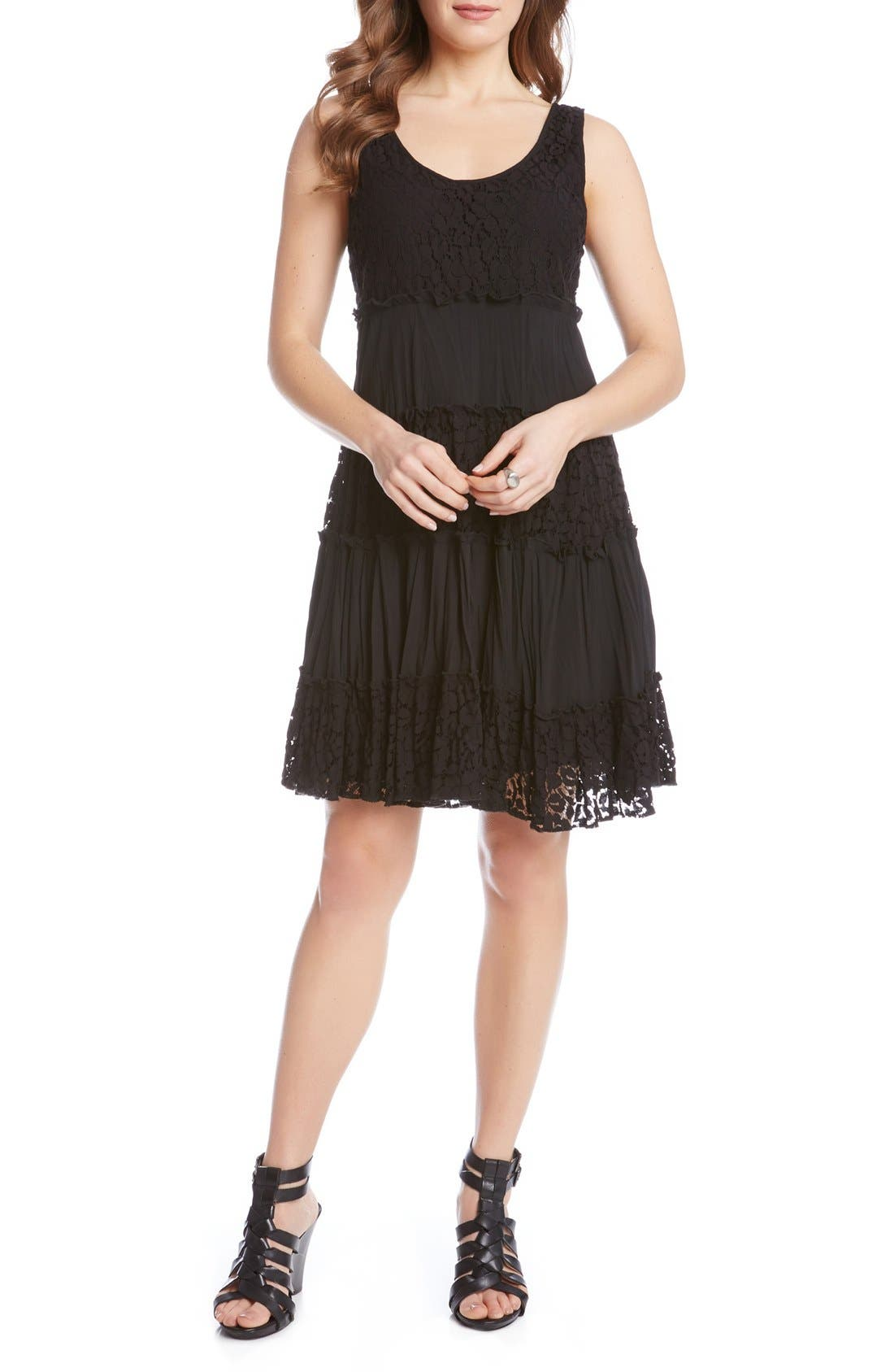 'Tara' Tiered Lace A-Line Dress,                             Alternate thumbnail 3, color,                             001