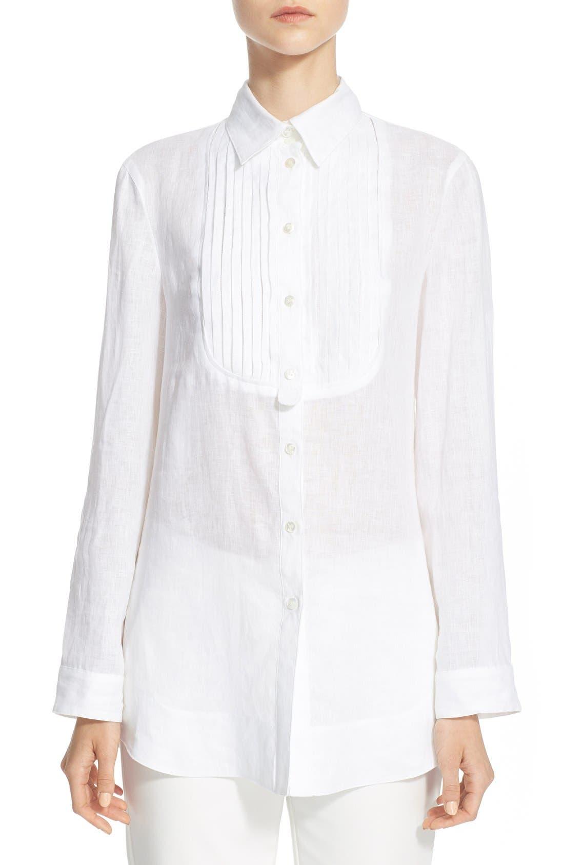 ARMANI COLLEZIONI,                             Linen Tuxedo Shirt,                             Main thumbnail 1, color,                             100