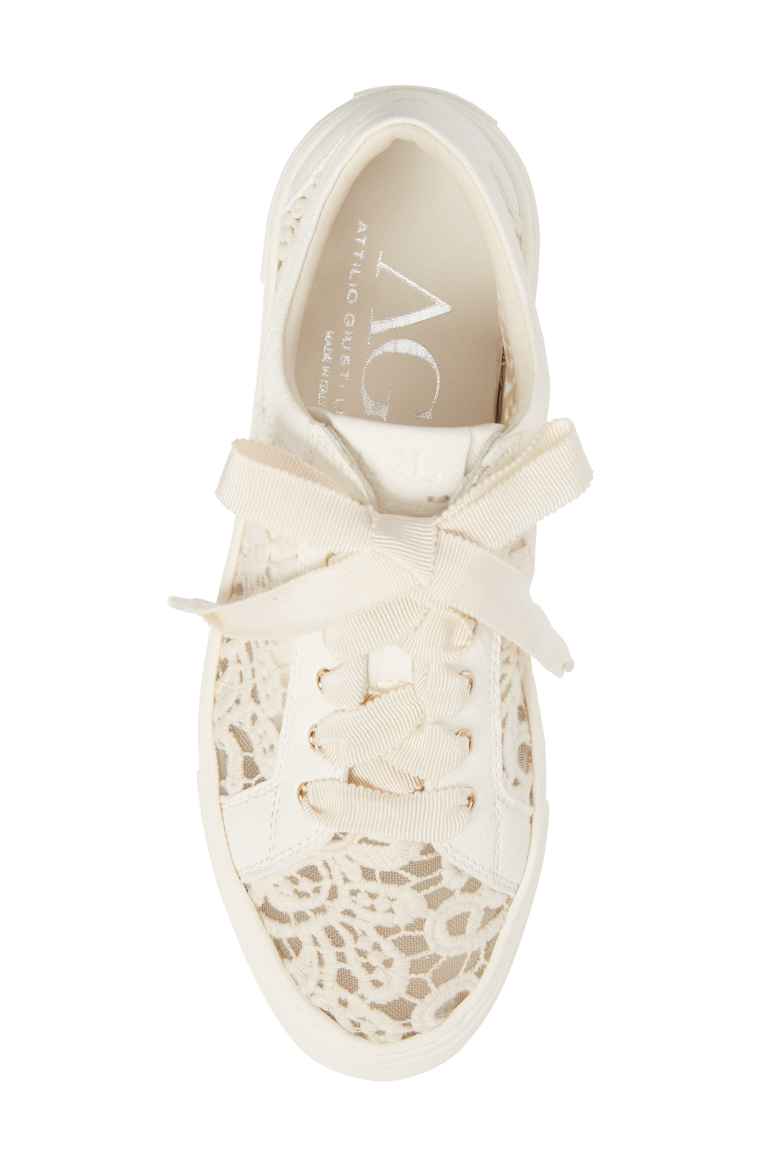 Embroidered Lace Sneaker,                             Alternate thumbnail 5, color,                             OFF WHITE LEATHER