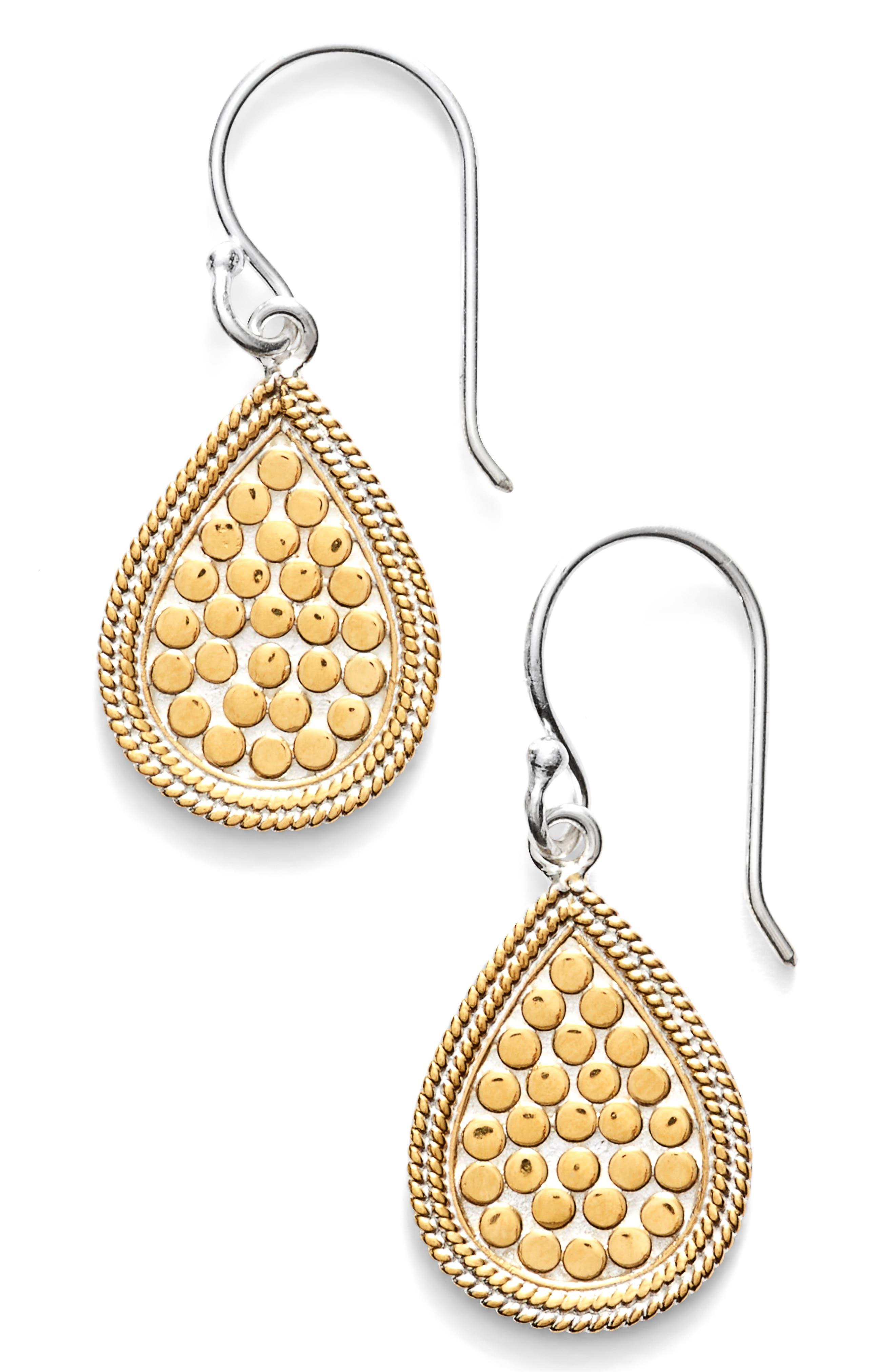 'Gili' Small Teardrop Earrings,                             Main thumbnail 1, color,                             GOLD/ SILVER