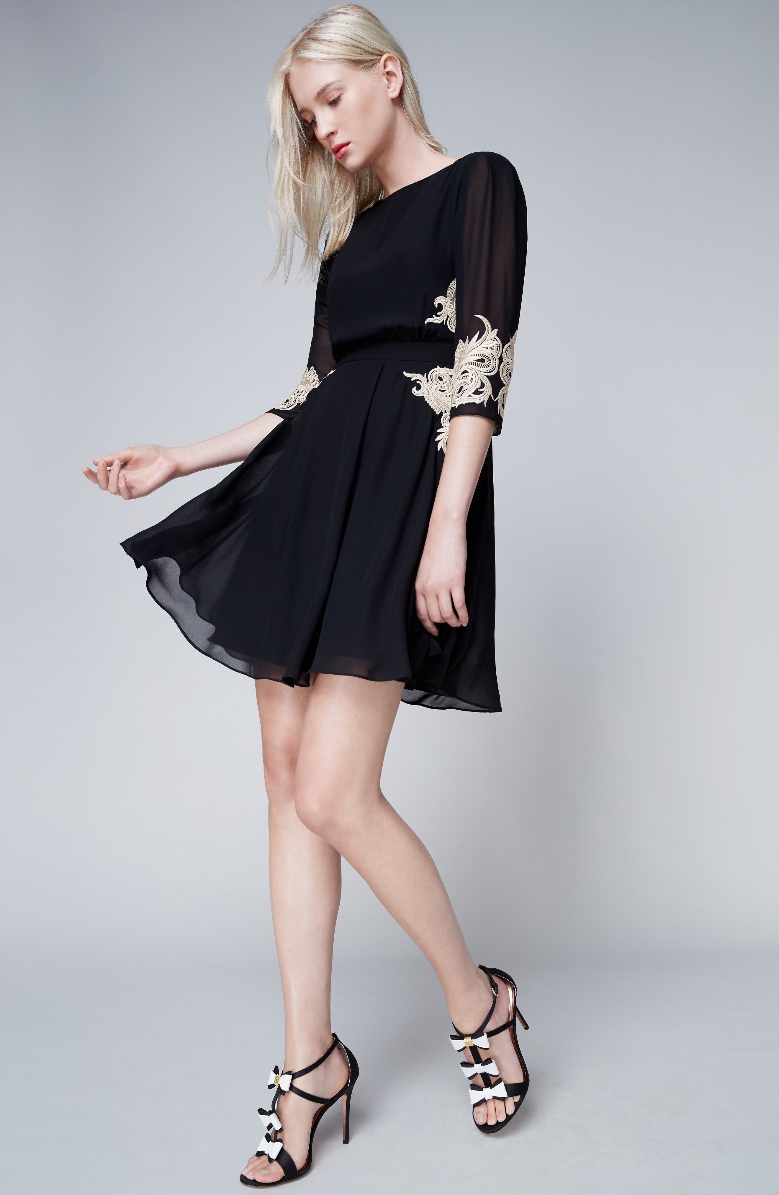 Gaenor Embroidered Fit & Flare Dress,                             Alternate thumbnail 7, color,