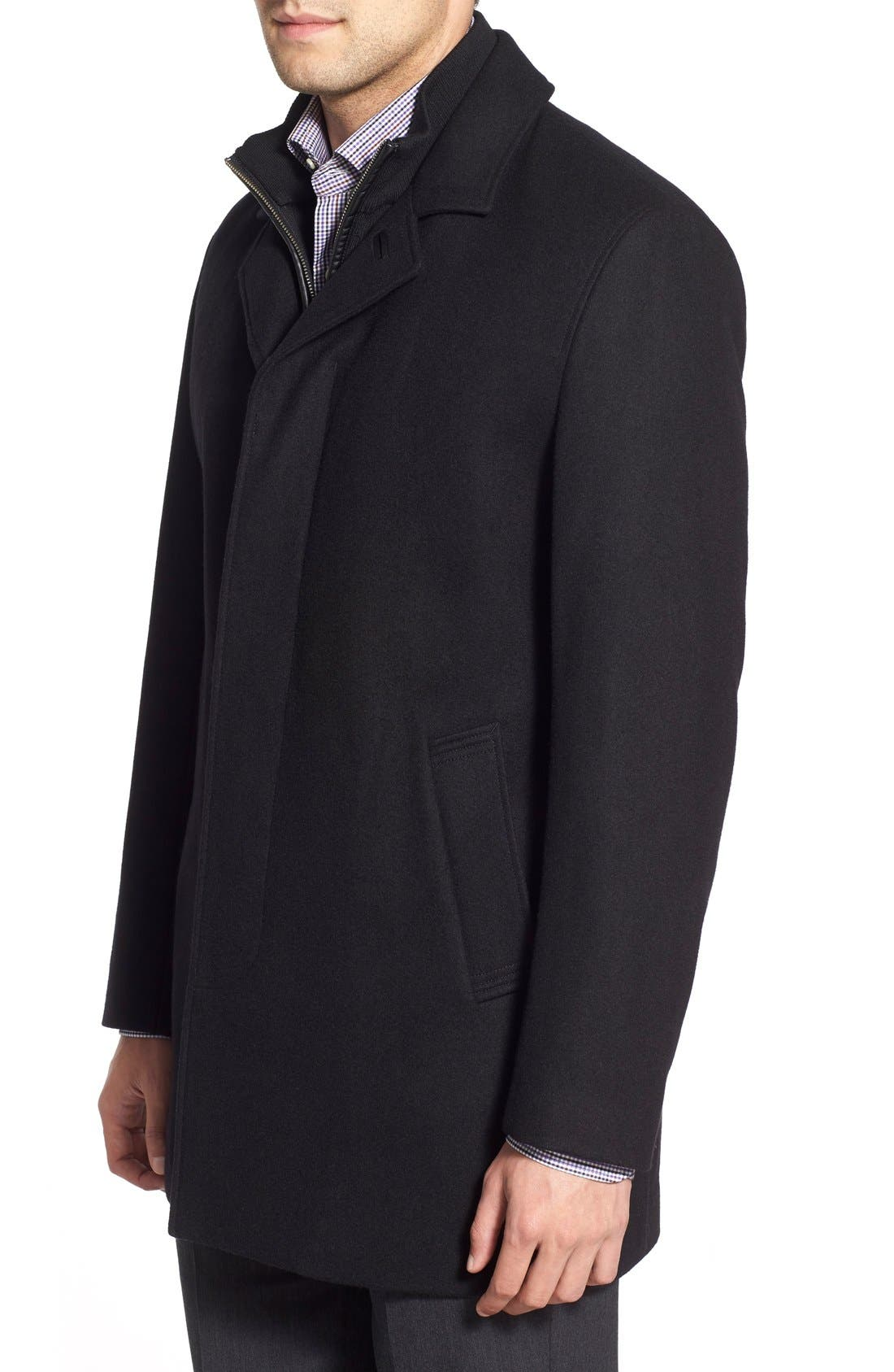 Wool Blend Topcoat with Inset Knit Bib,                             Alternate thumbnail 3, color,                             BLACK