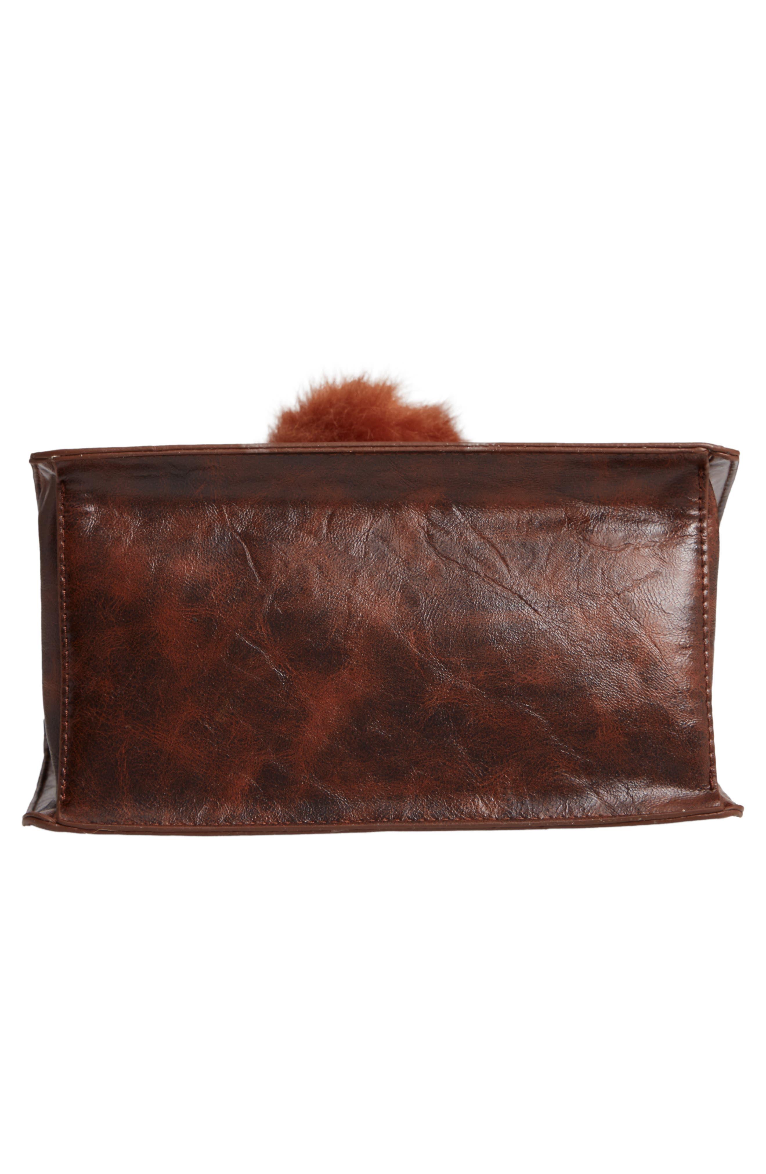 MUCHE ET MUCHETTE,                             Eleanor Faux Leather Satchel with Faux Fur Pom,                             Alternate thumbnail 6, color,                             BROWN