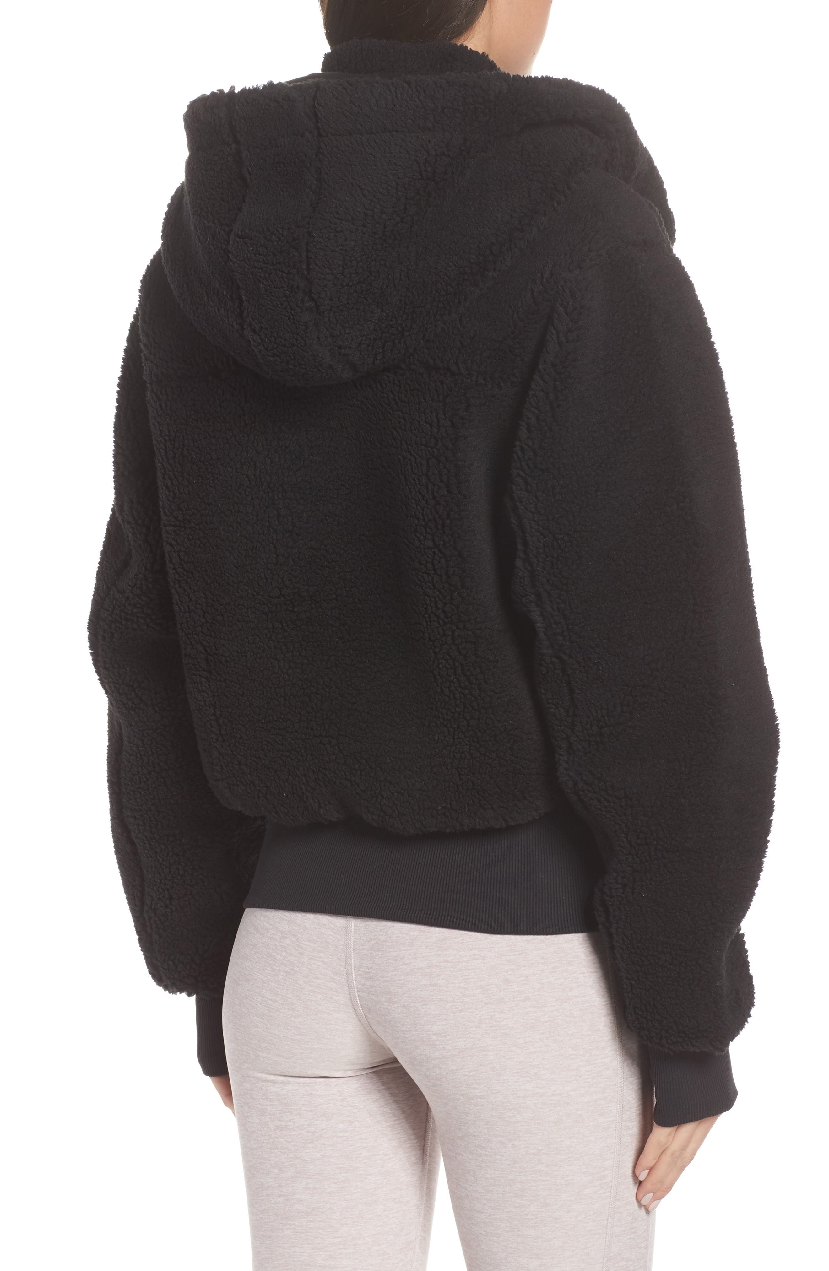 Foxy Faux Fur Jacket,                             Alternate thumbnail 2, color,                             BLACK