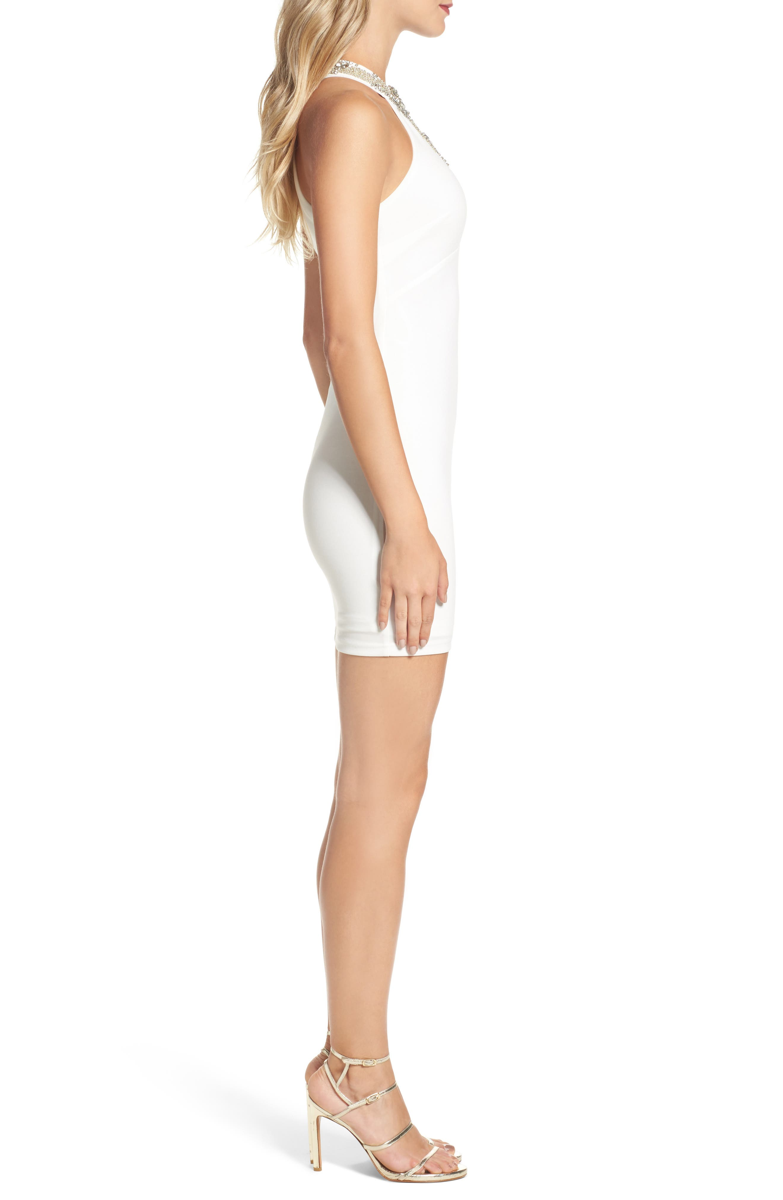 Alluring Evening Beaded Body-Con Dress,                             Alternate thumbnail 6, color,