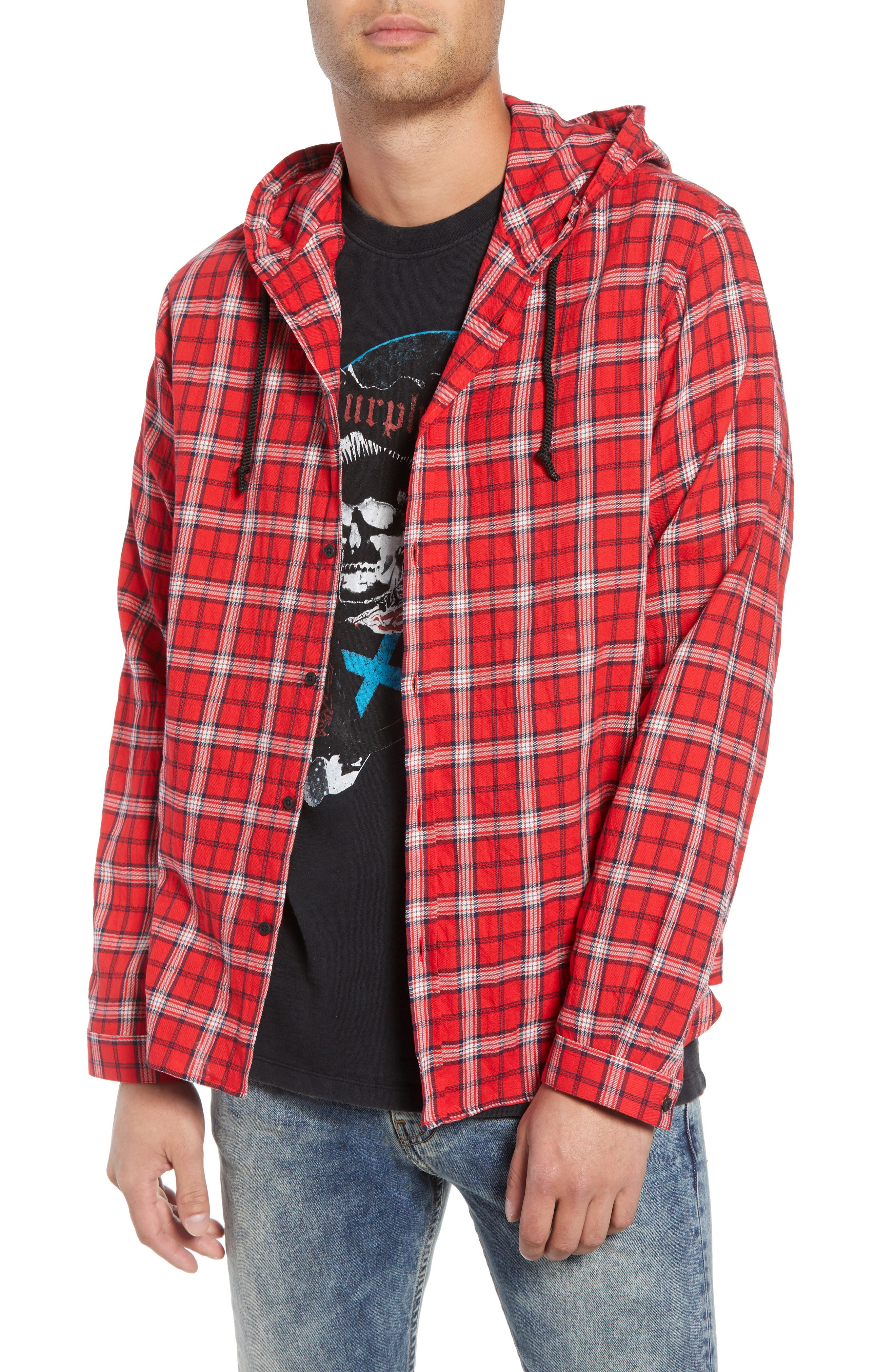 Checkered Classic Fit Hoodie Shirt Jacket,                             Alternate thumbnail 2, color,                             600