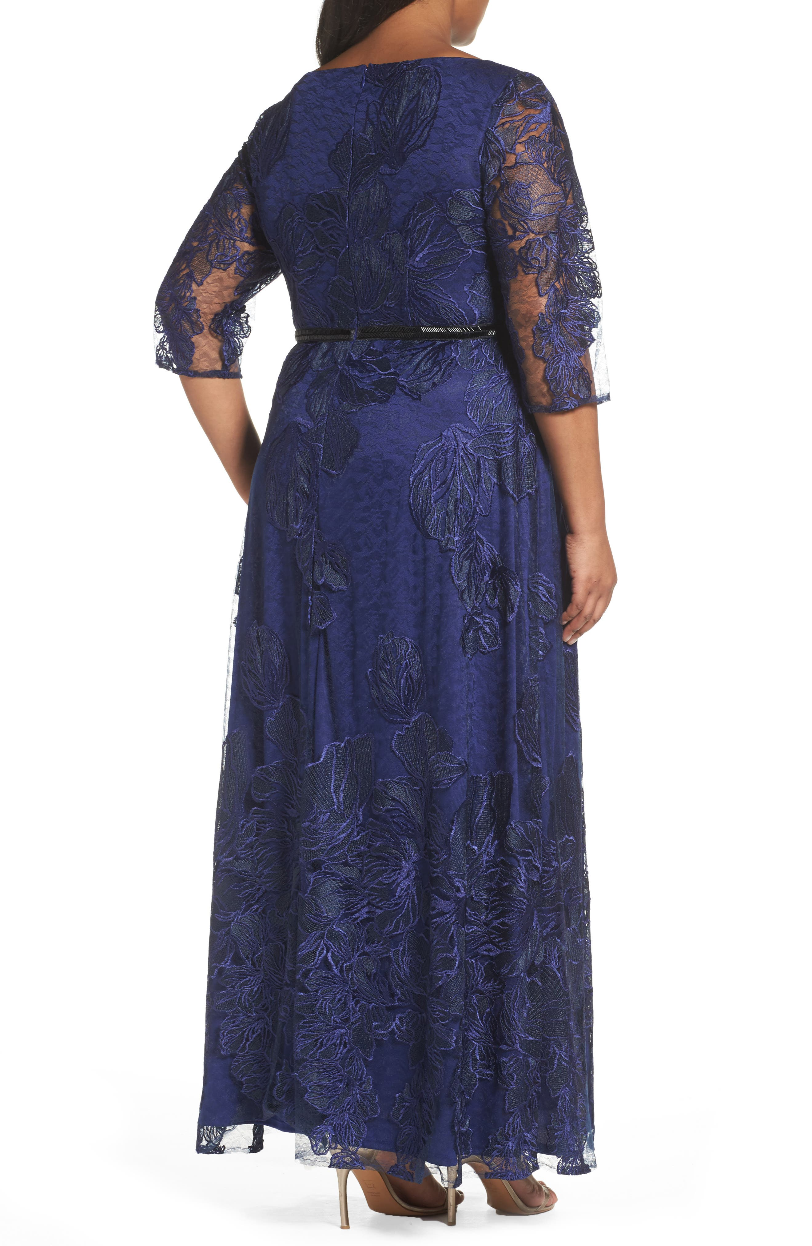Embellished Floral Lace Gown,                             Alternate thumbnail 2, color,