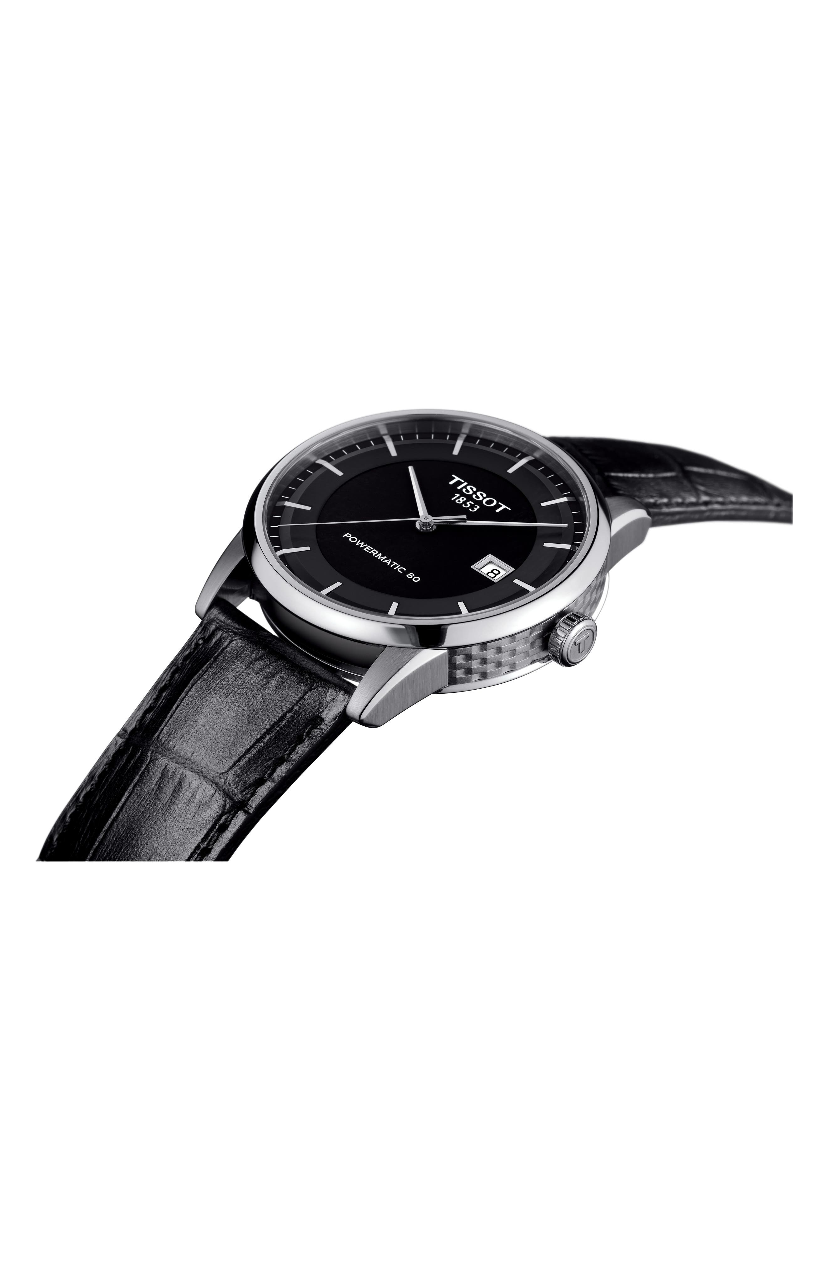 Luxury GTS Automatic Leather Strap Watch, 41mm,                             Alternate thumbnail 3, color,                             BLACK/ SILVER