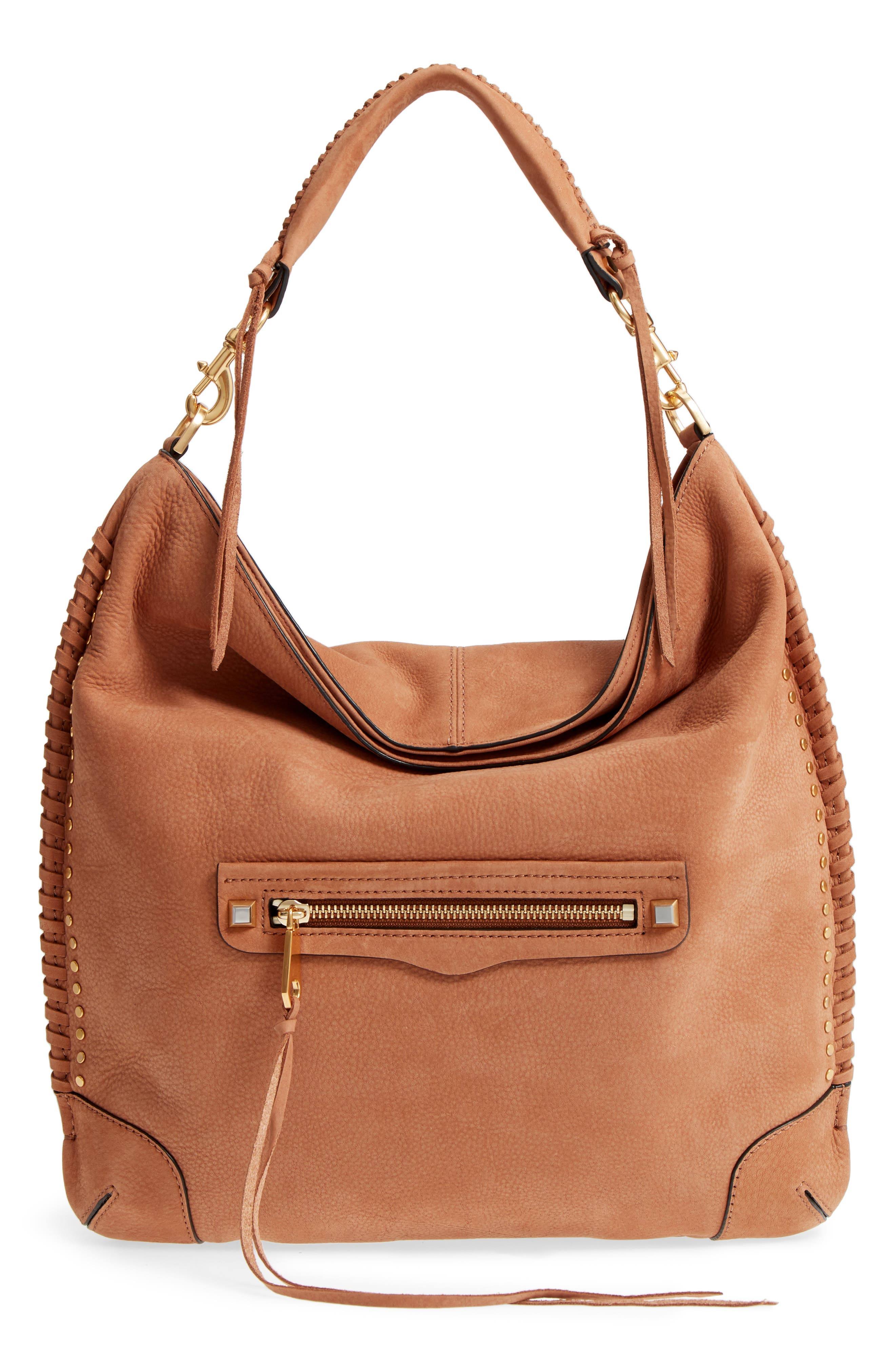 Slim Regan Leather Hobo,                         Main,                         color, ALMOND