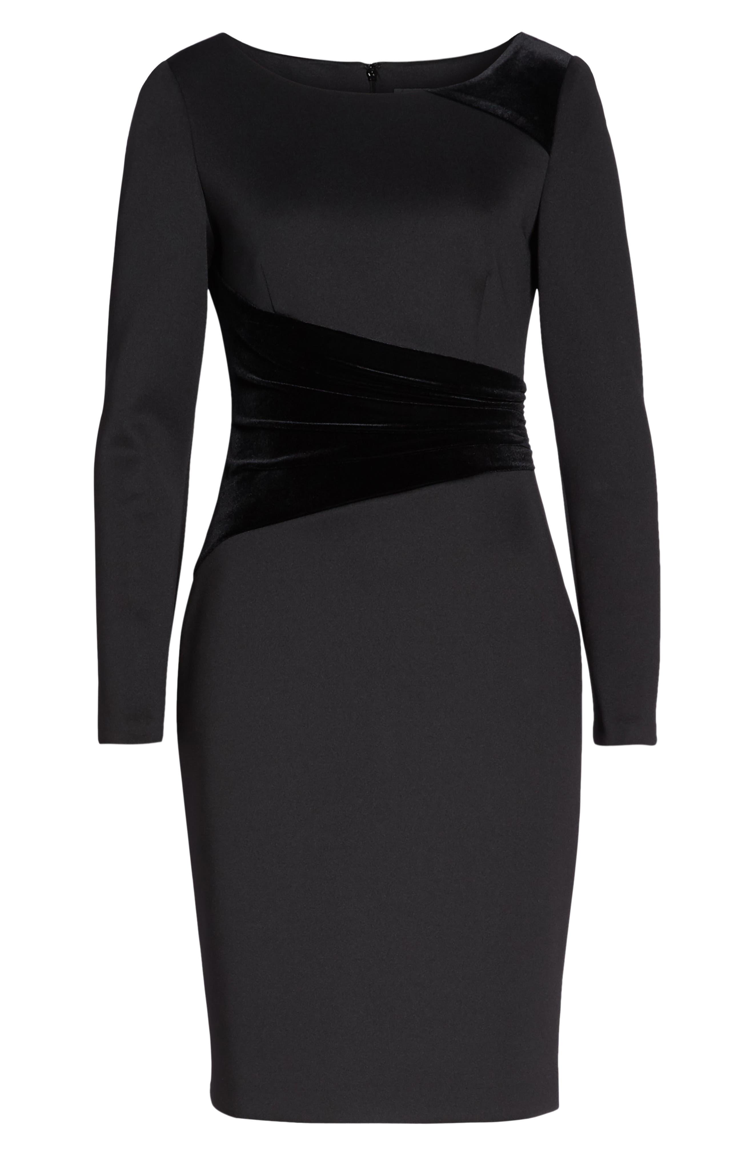 Contrast Dress,                             Alternate thumbnail 7, color,                             BLACK