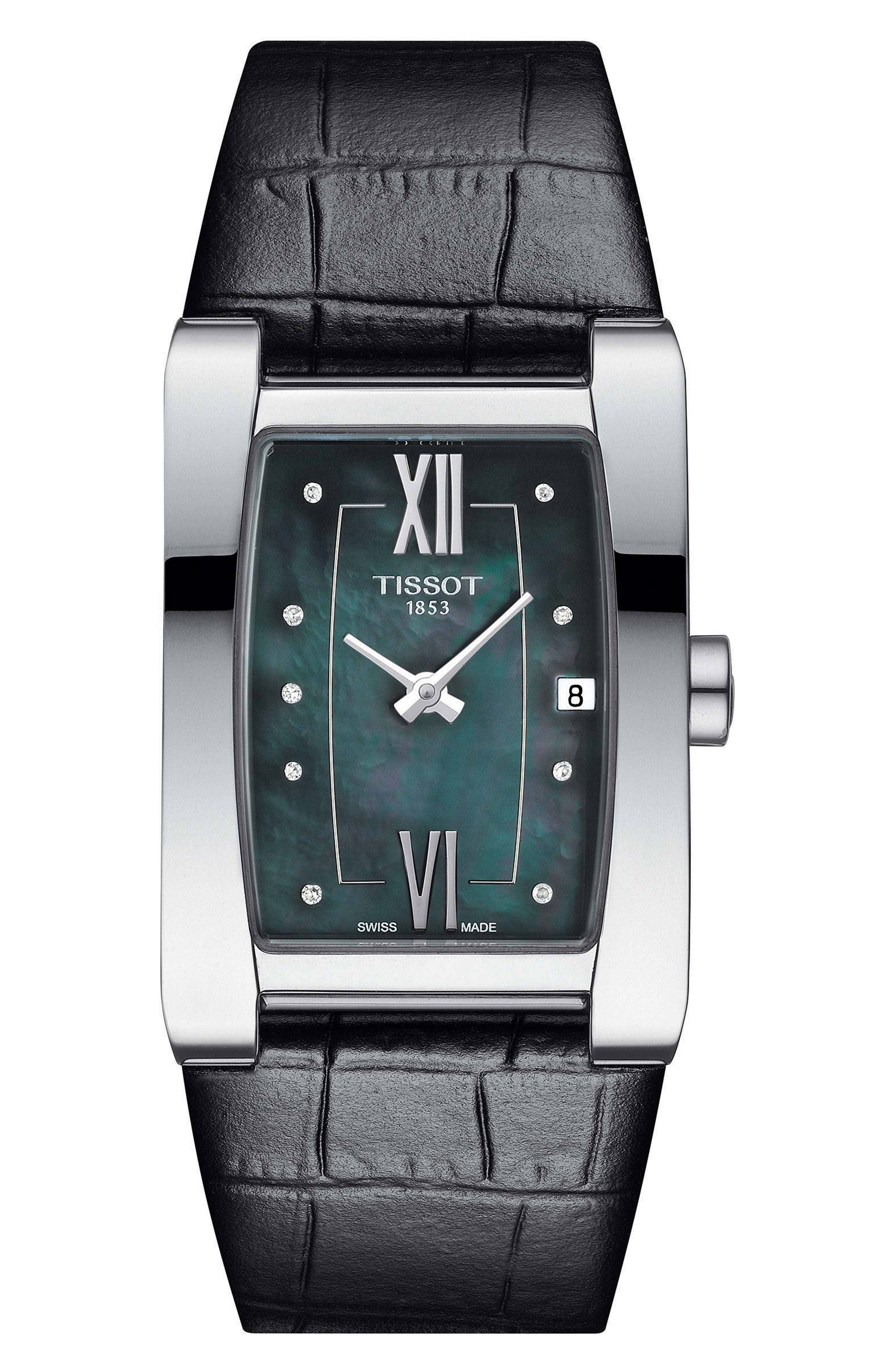 Generosi-T Rectangular Leather Strap Watch, 27mm x 24mm,                             Main thumbnail 1, color,                             BLACK/ MOP/ SILVER