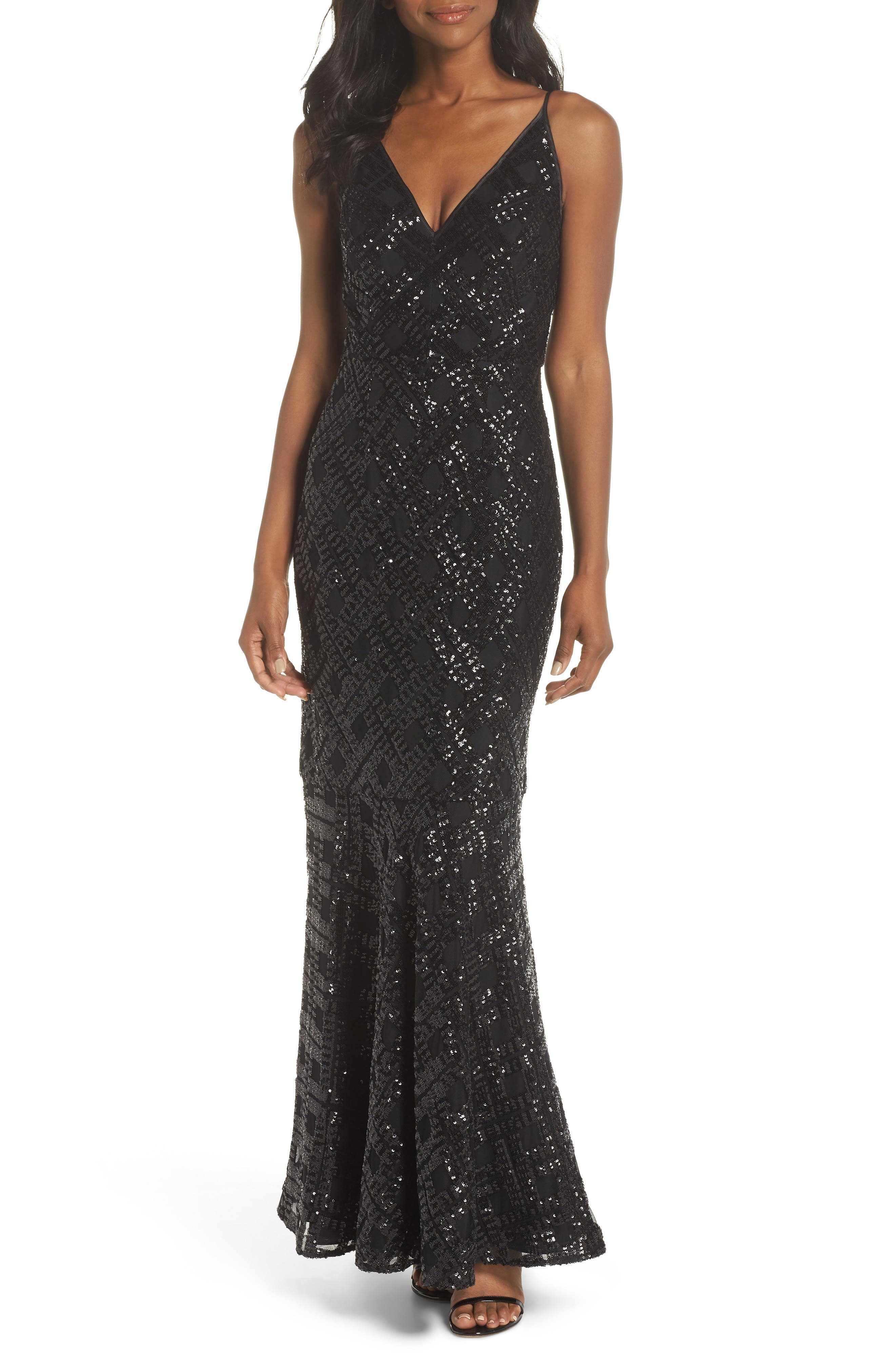 Embellished Fishtail Gown,                             Main thumbnail 1, color,                             BLACK