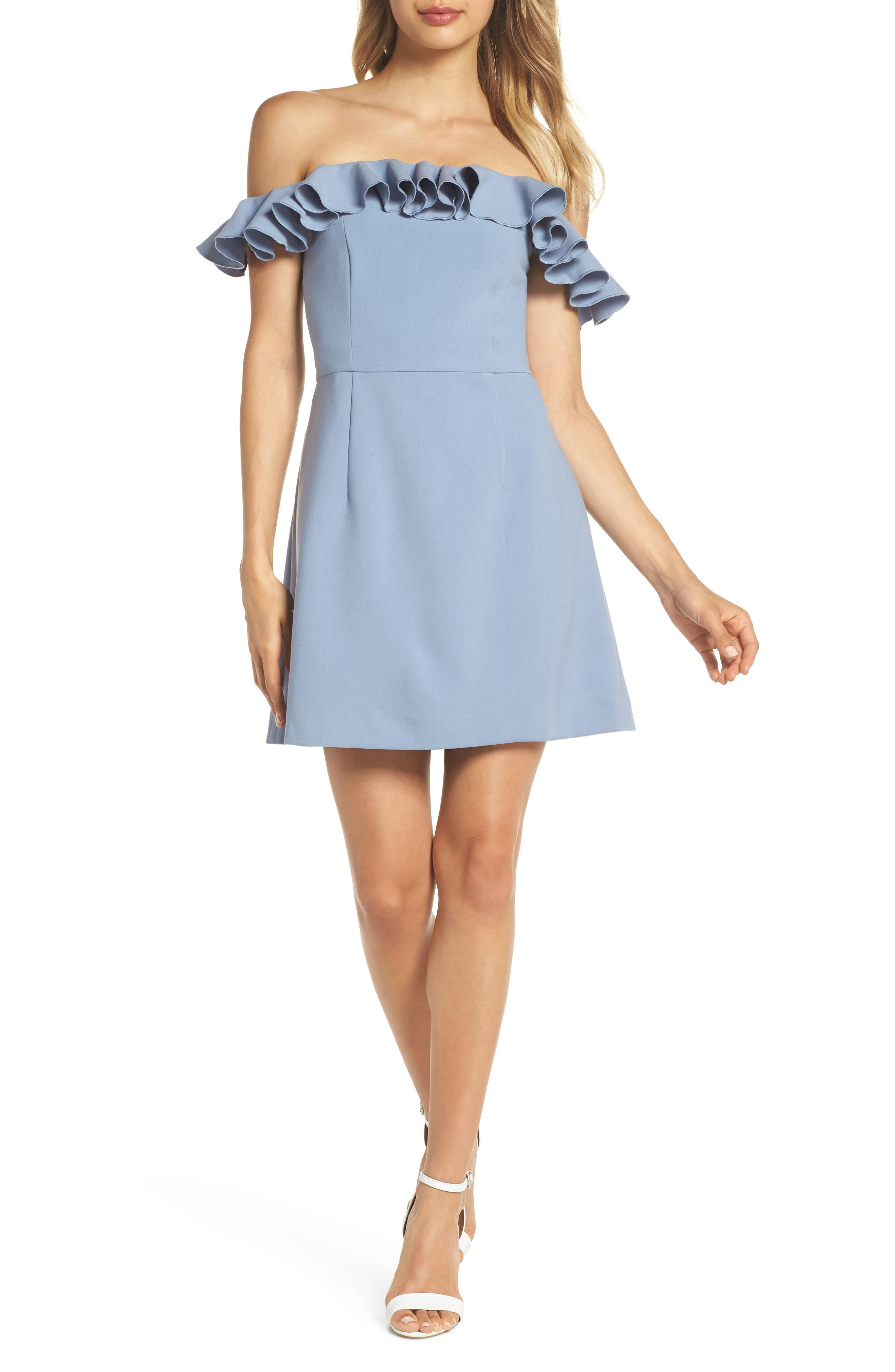 French Connection Whisper Light Off The Shoulder Ruffle Dress, Grey
