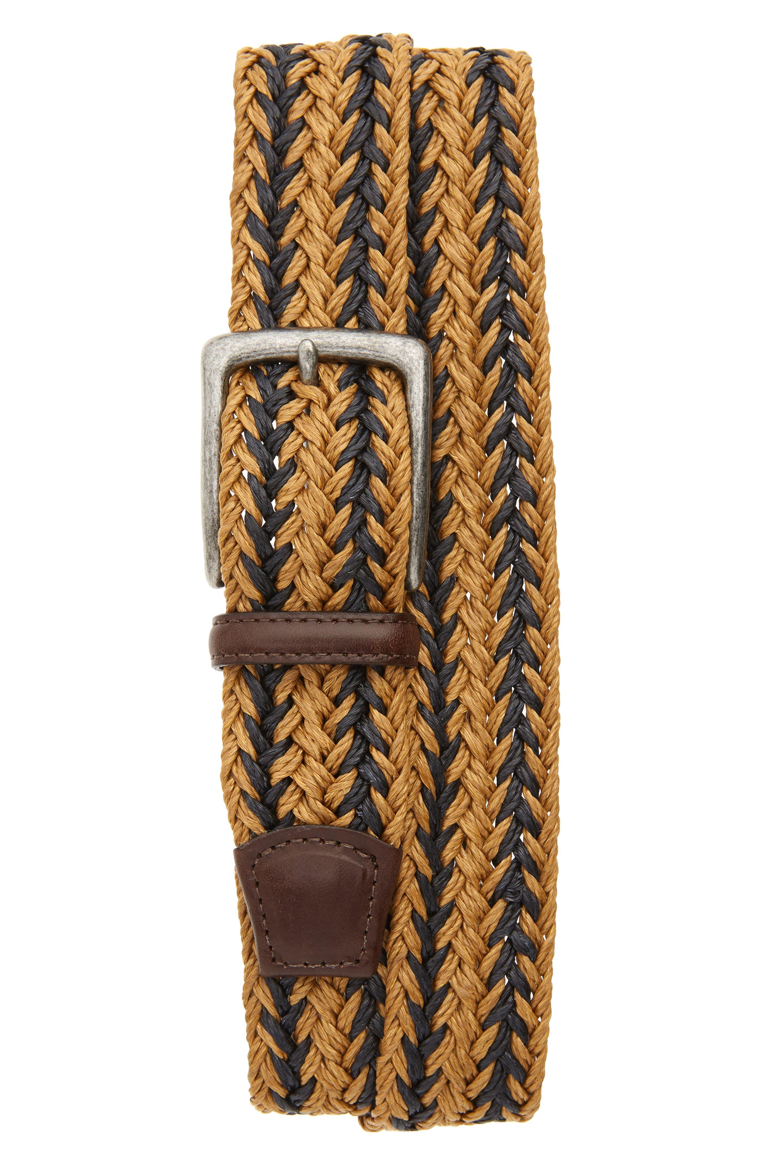 Torino Woven Linen Belt, Camel/ Navy